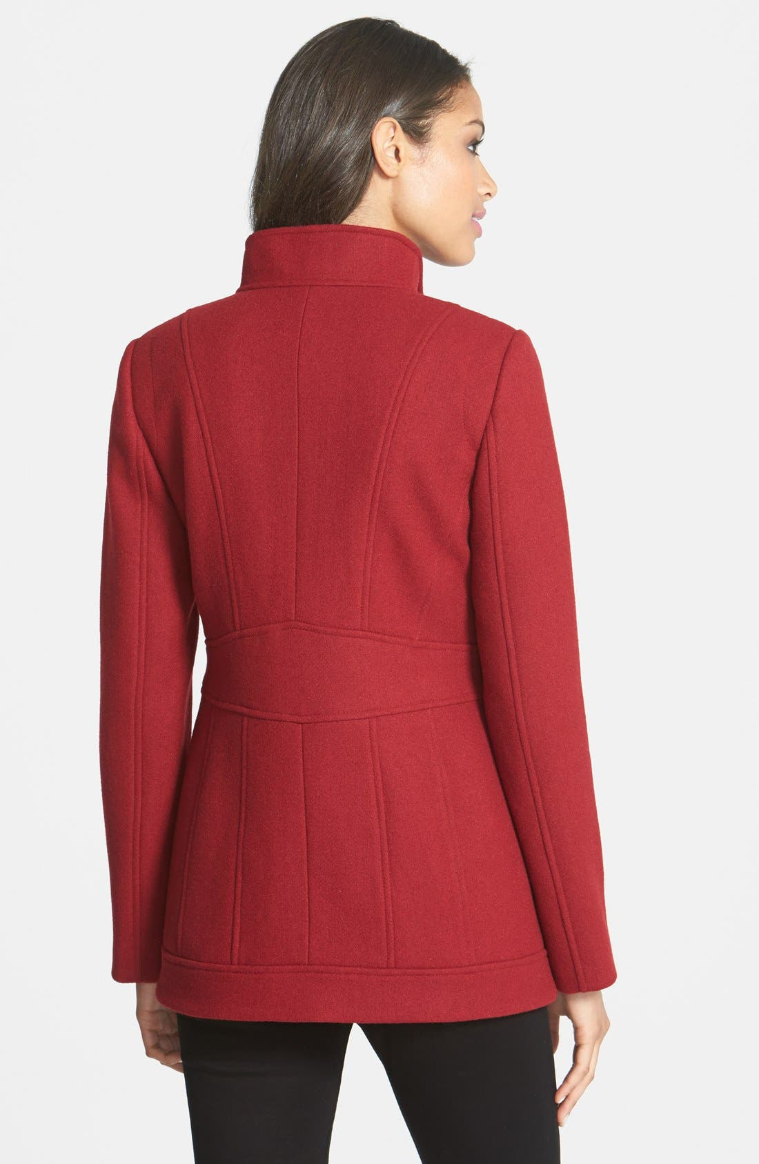 Alternate Image 2  - Ellen Tracy Stand Collar Wool Blend Coat (Online Only)