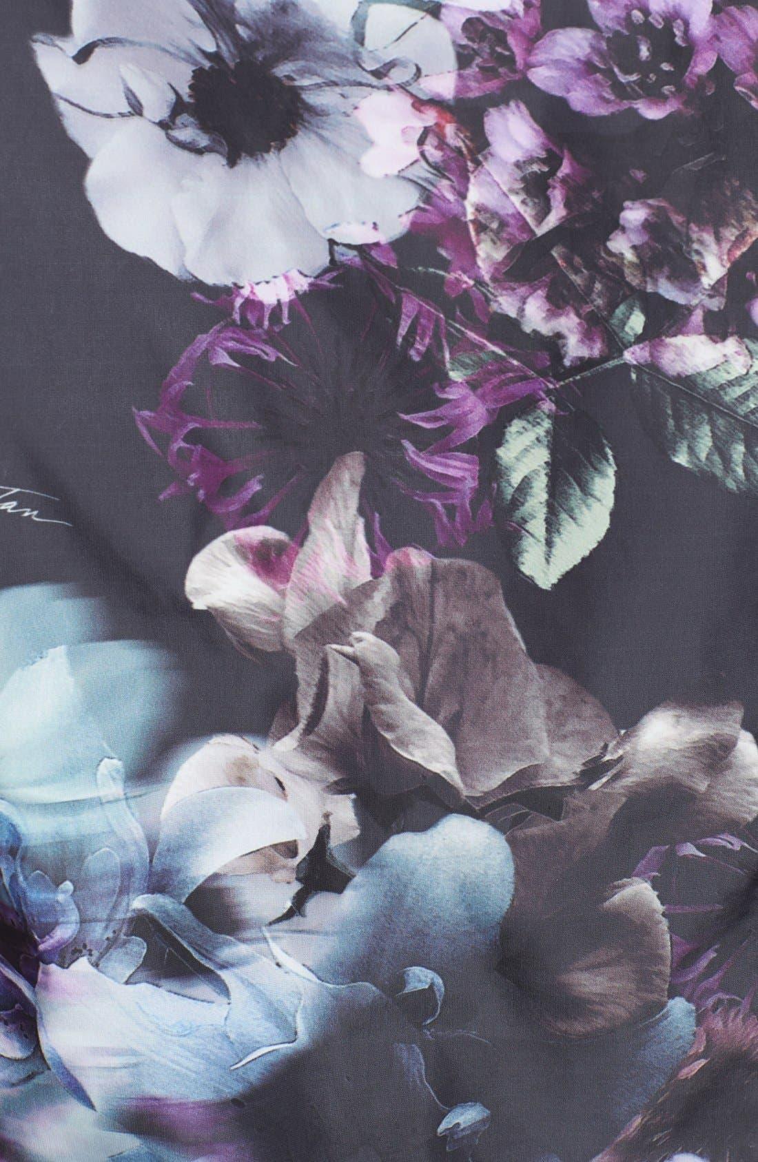 Alternate Image 3  - Pink Tartan 'Midnight Floral' Print Fit & Flare Shirtdress