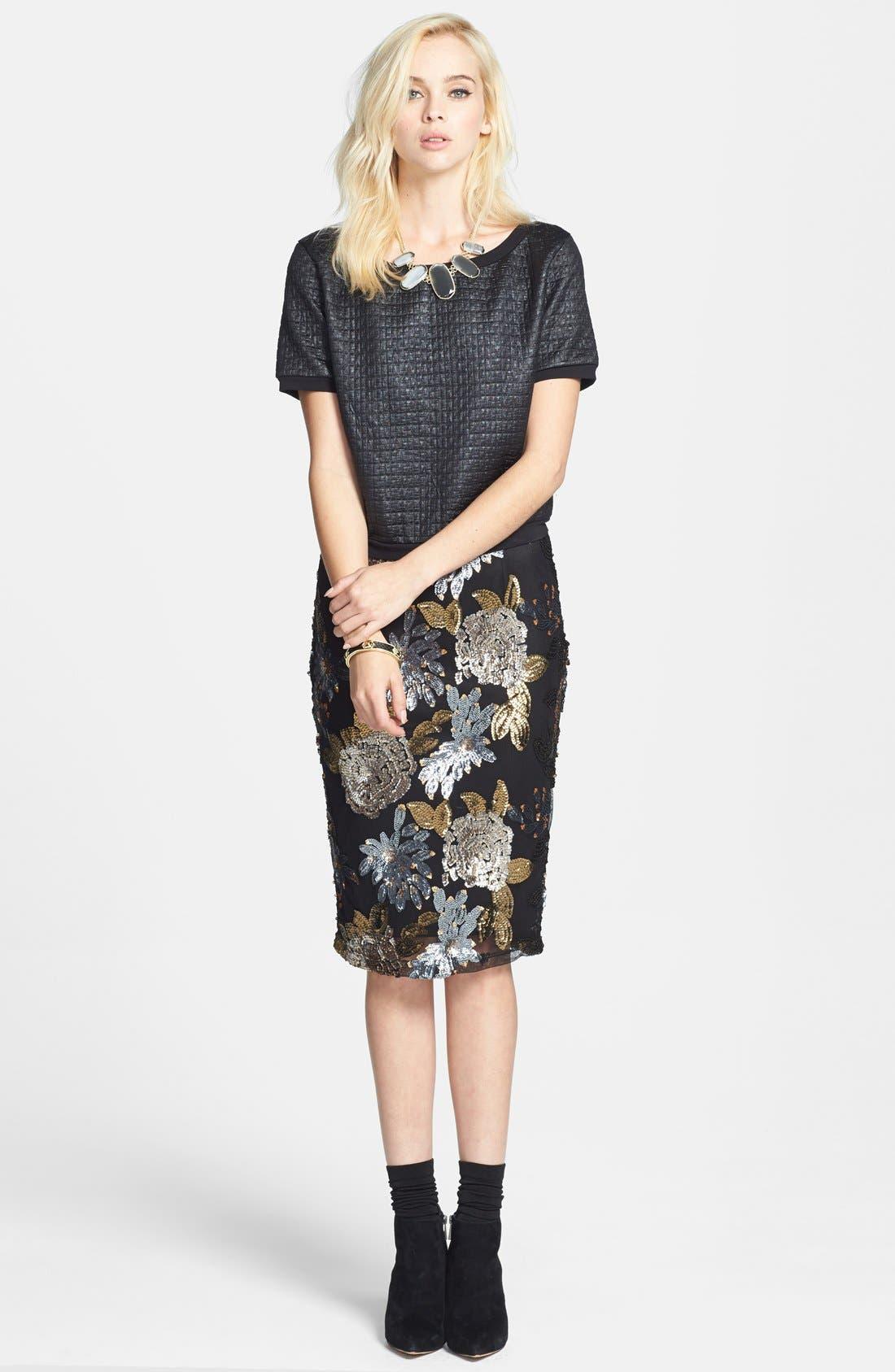 Alternate Image 4  - Leith Coated Textured Crop Sweatshirt
