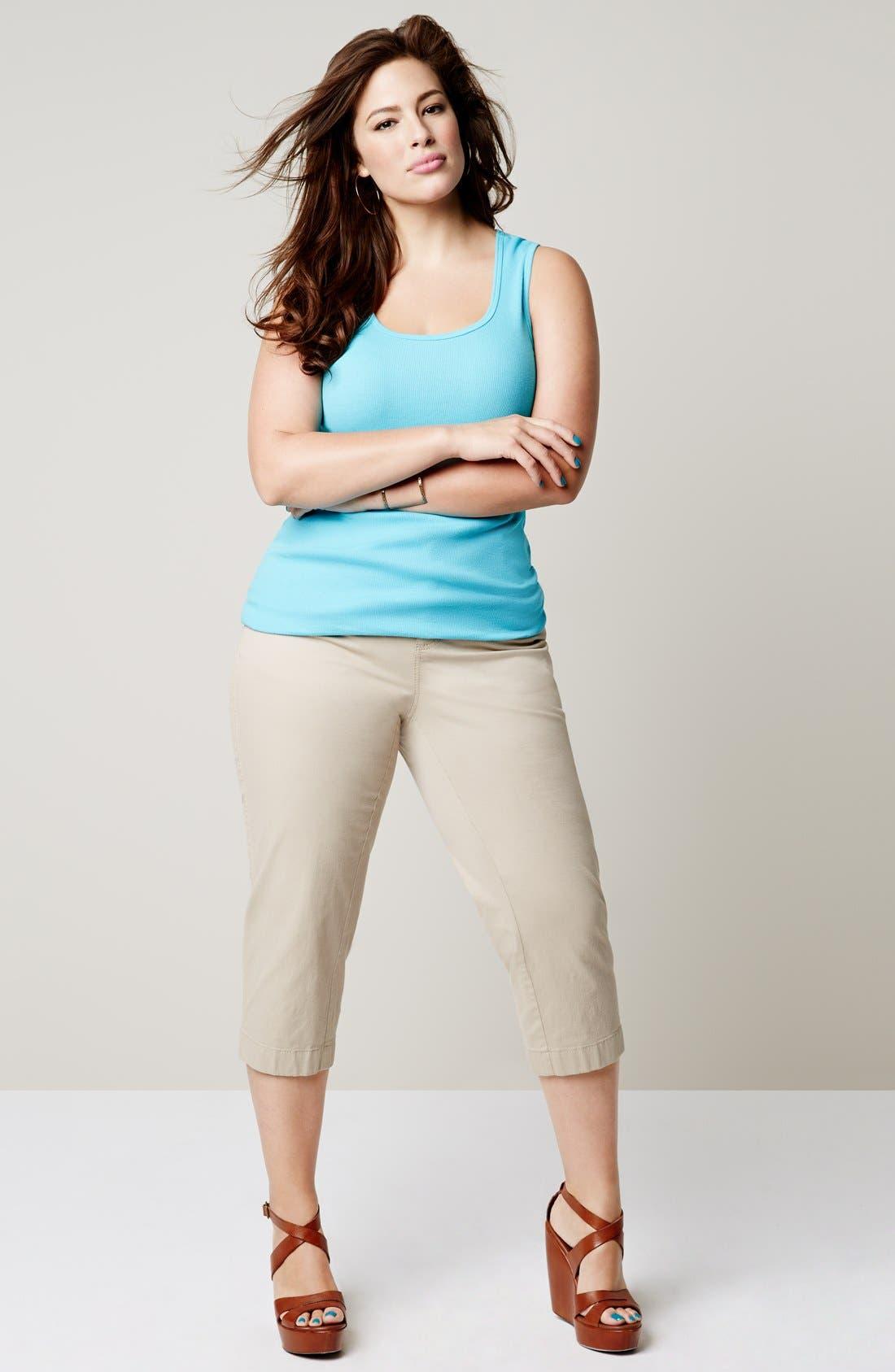 Alternate Image 4  - Sejour 'Megan' Stretch Cotton Crop Pants (Plus Size)