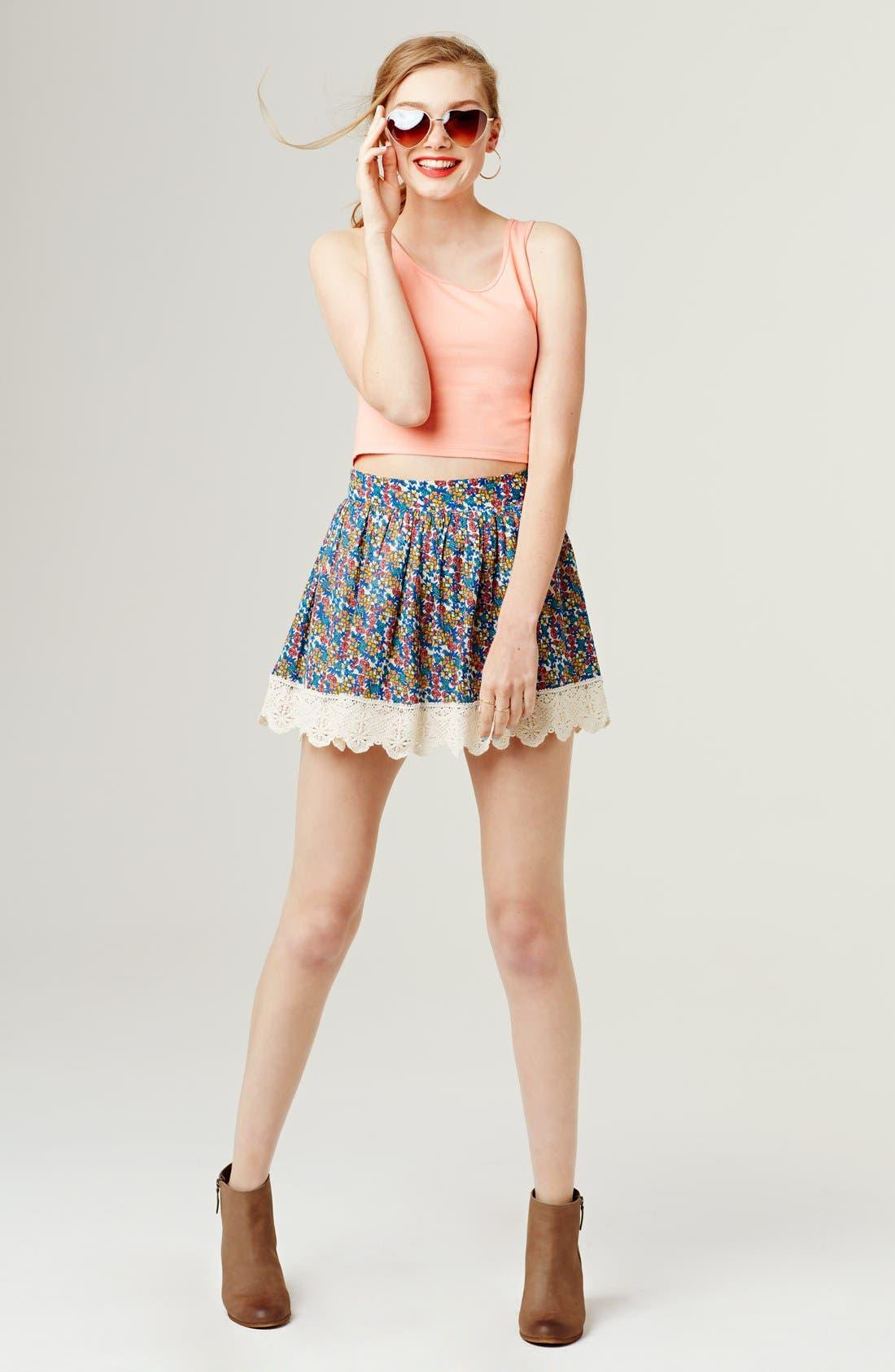 Alternate Image 4  - Socialite Floral Print Crochet Trim Skirt (Juniors)