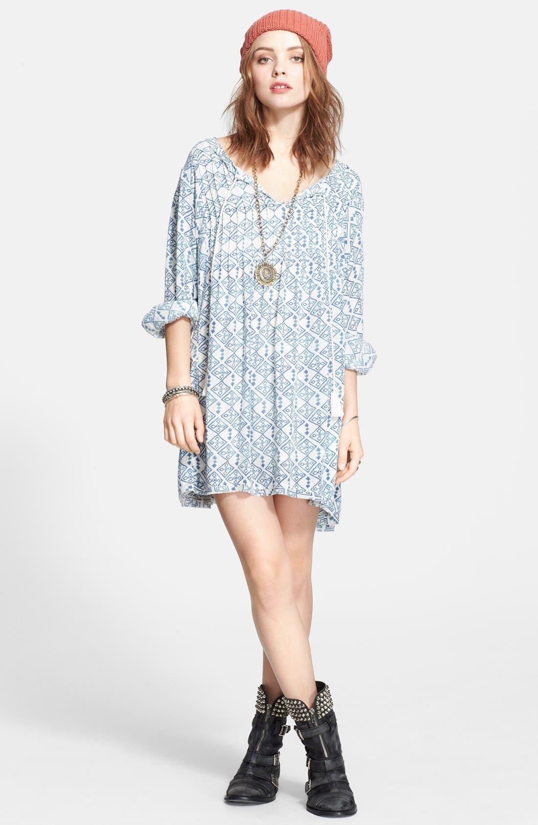 Main Image - Free People 'Marlow' Print Pintuck Pleat Shift Dress