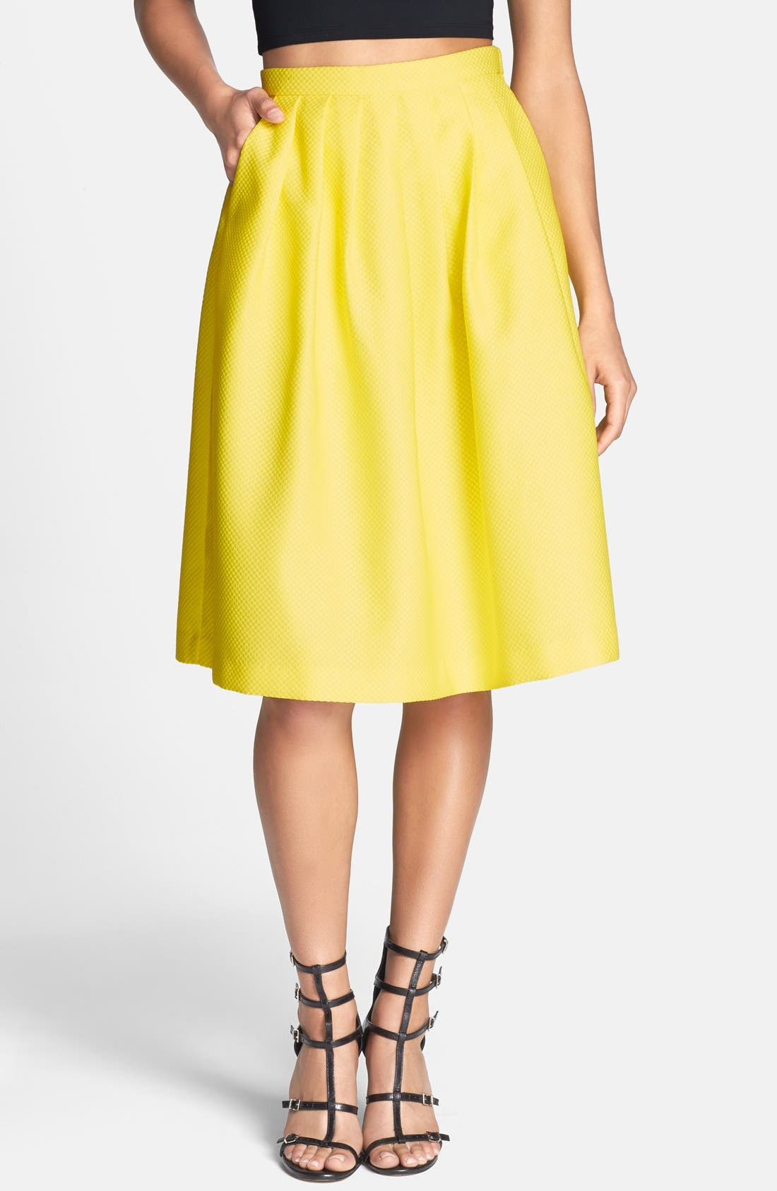 Alternate Image 1 Selected - Lucy Paris Textured Full Midi Skirt