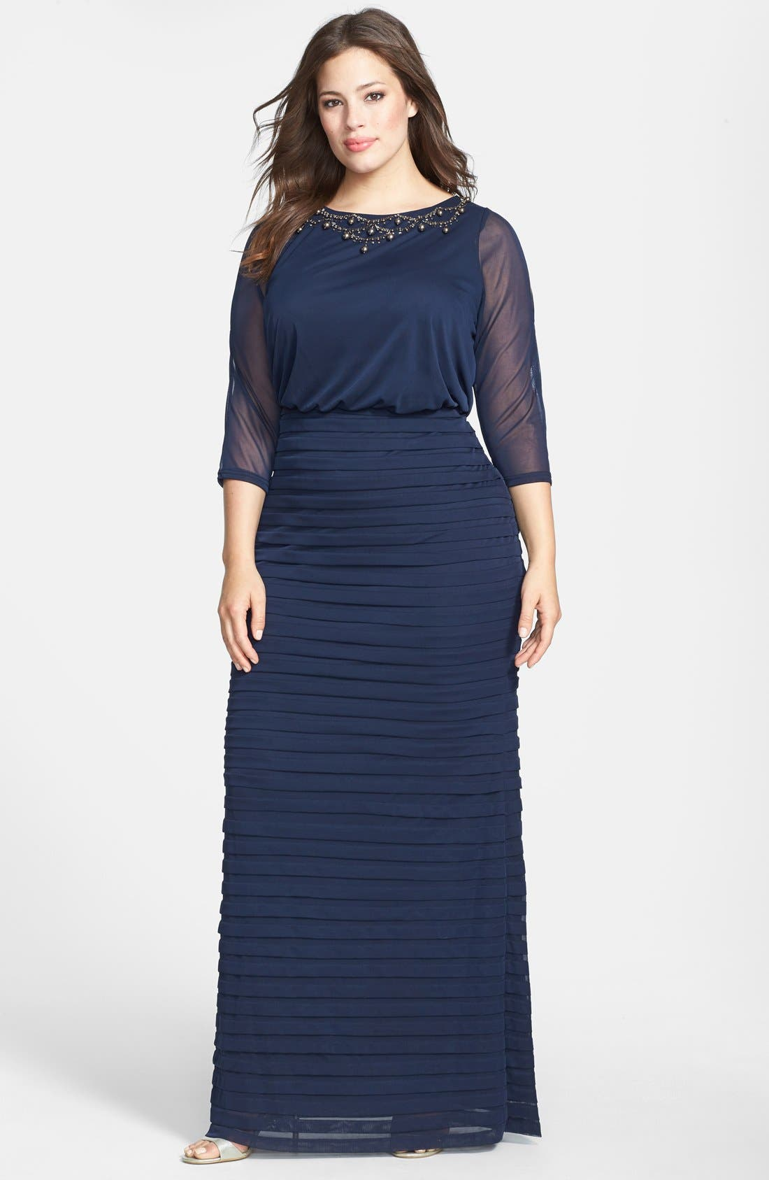 Main Image - Adrianna Papell Embellished Sheer Sleeve Shutter Pleat Gown (Plus Size)