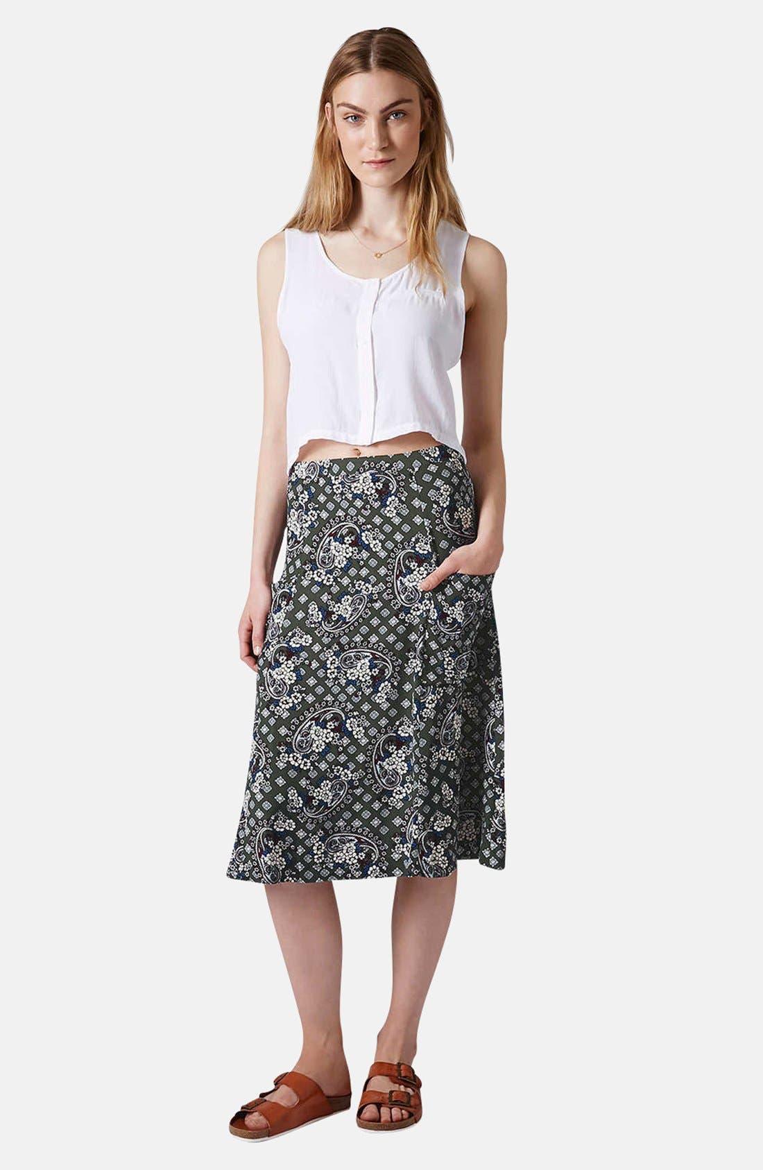 Alternate Image 5  - Topshop Tile Print Midi Skirt