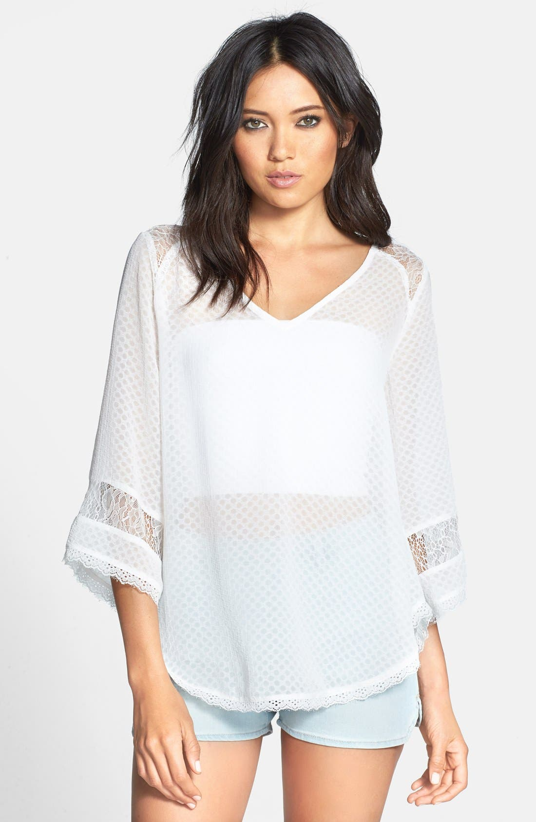 Main Image - ASTR Lace Inset Textured Top