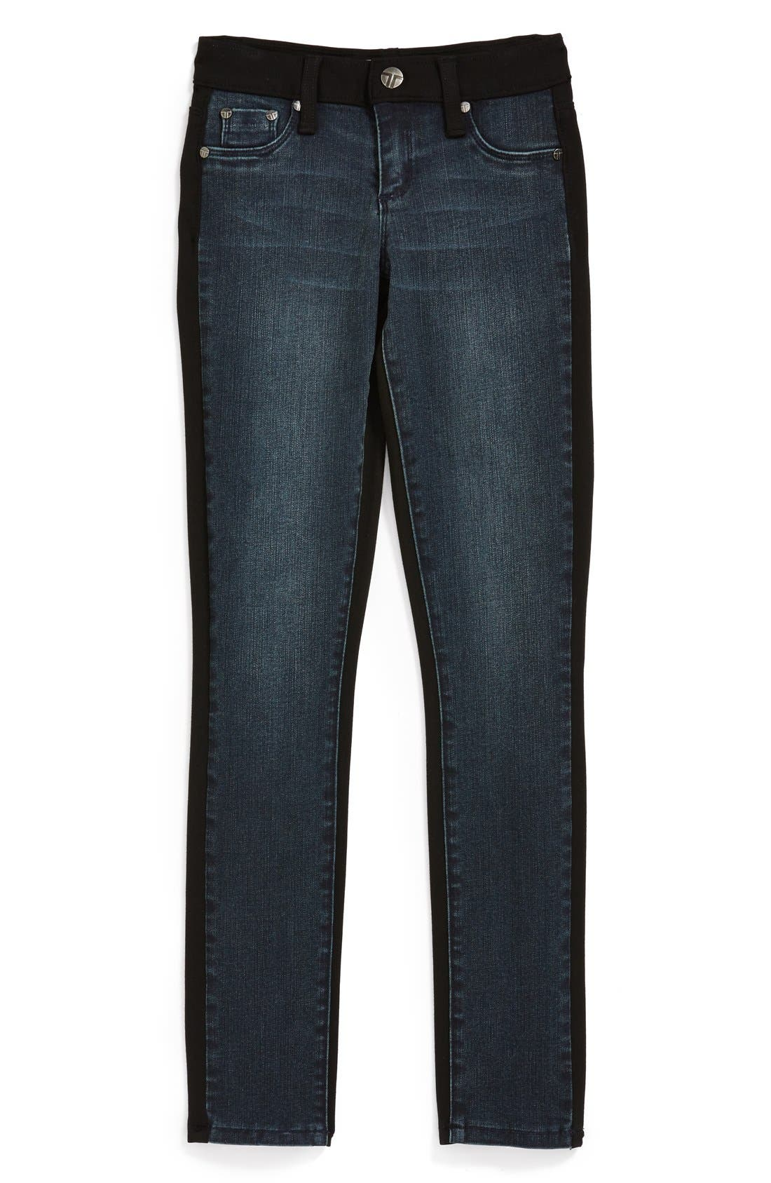 Alternate Image 1 Selected - Tractr Denim Front Knit Back Pants (Big Girls)