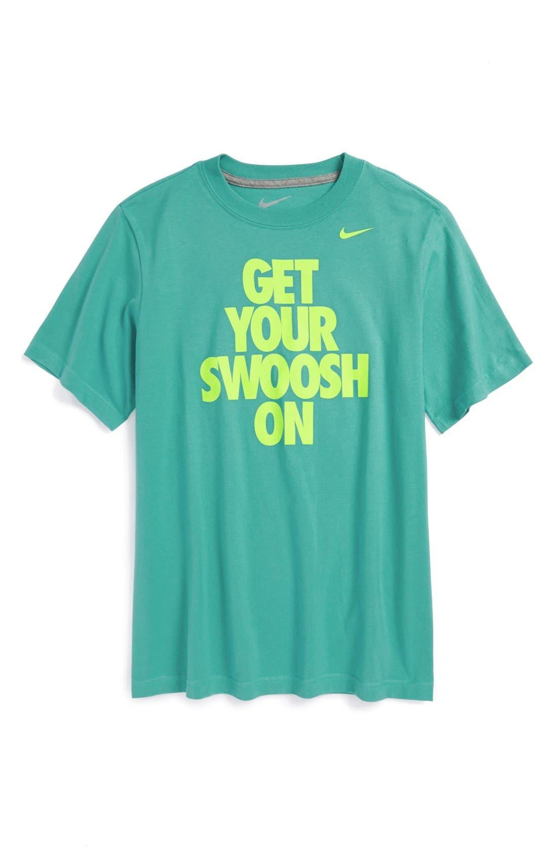 Alternate Image 1 Selected - Nike 'Swoosh On' T-Shirt (Big Boys)