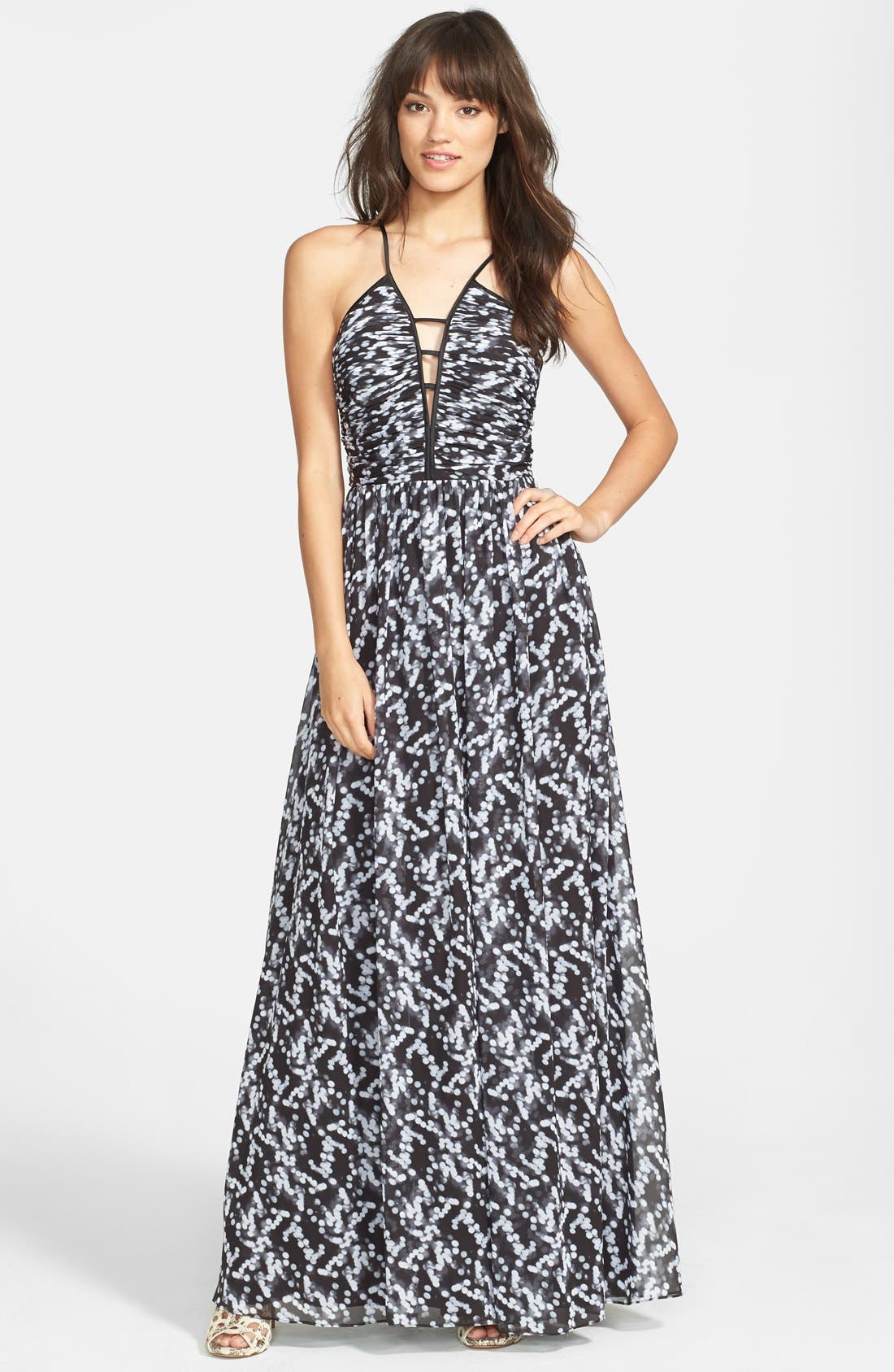 Alternate Image 1 Selected - Hailey by Adrianna Papell Deep V-Neck Print Chiffon Gown