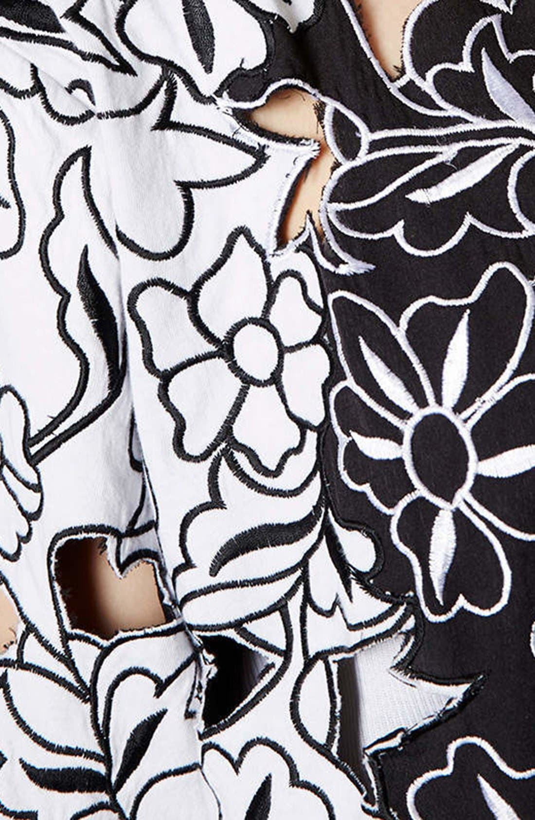 Alternate Image 4  - Topshop Cutout Embroidered Kimono Jacket