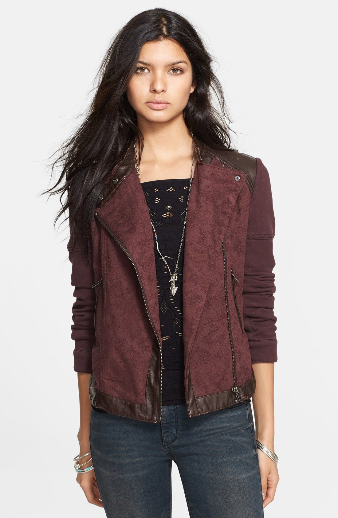 Alternate Image 1 Selected - Free People Mixed Media Moto Jacket