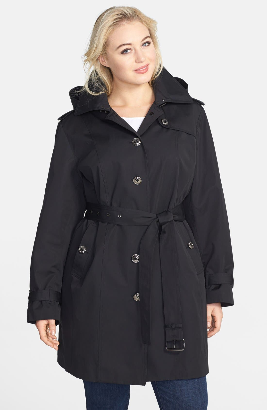 Alternate Image 1 Selected - MICHAEL Michael Kors Trench Coat with Detachable Hood & Liner (Plus Size) (Online Only)