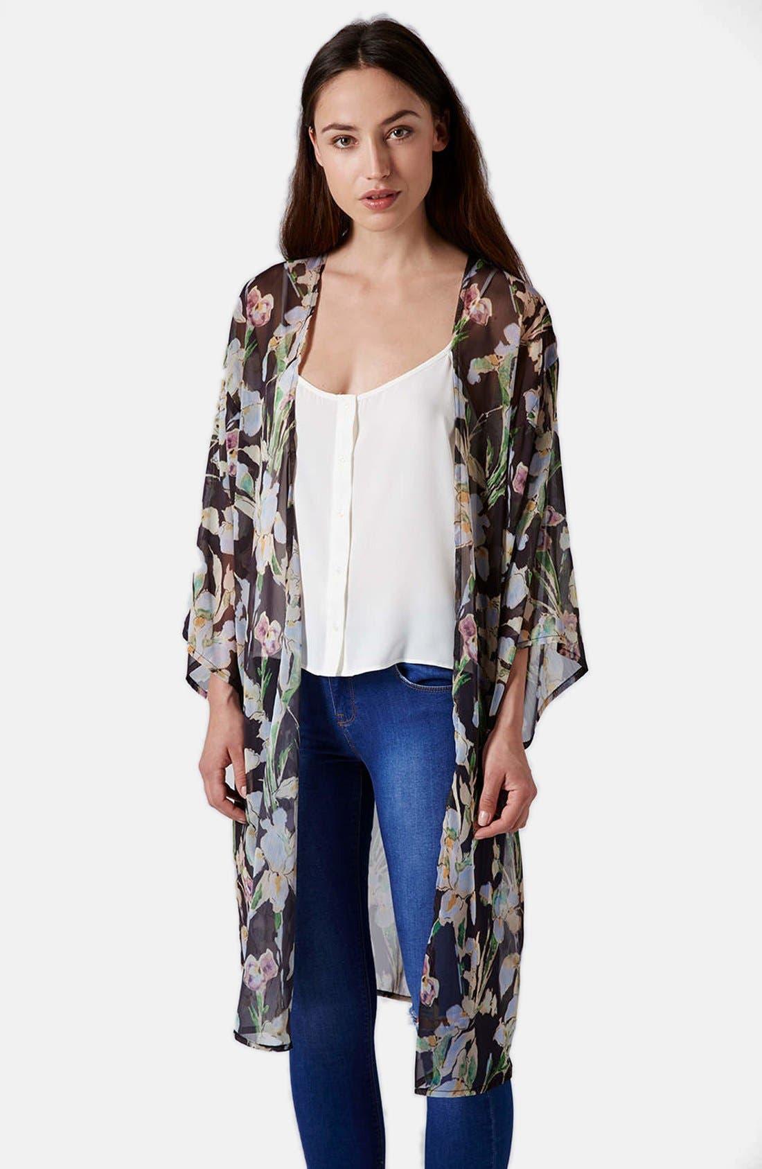 Iris Print Kimono Jacket,                             Main thumbnail 1, color,                             Pink Multi