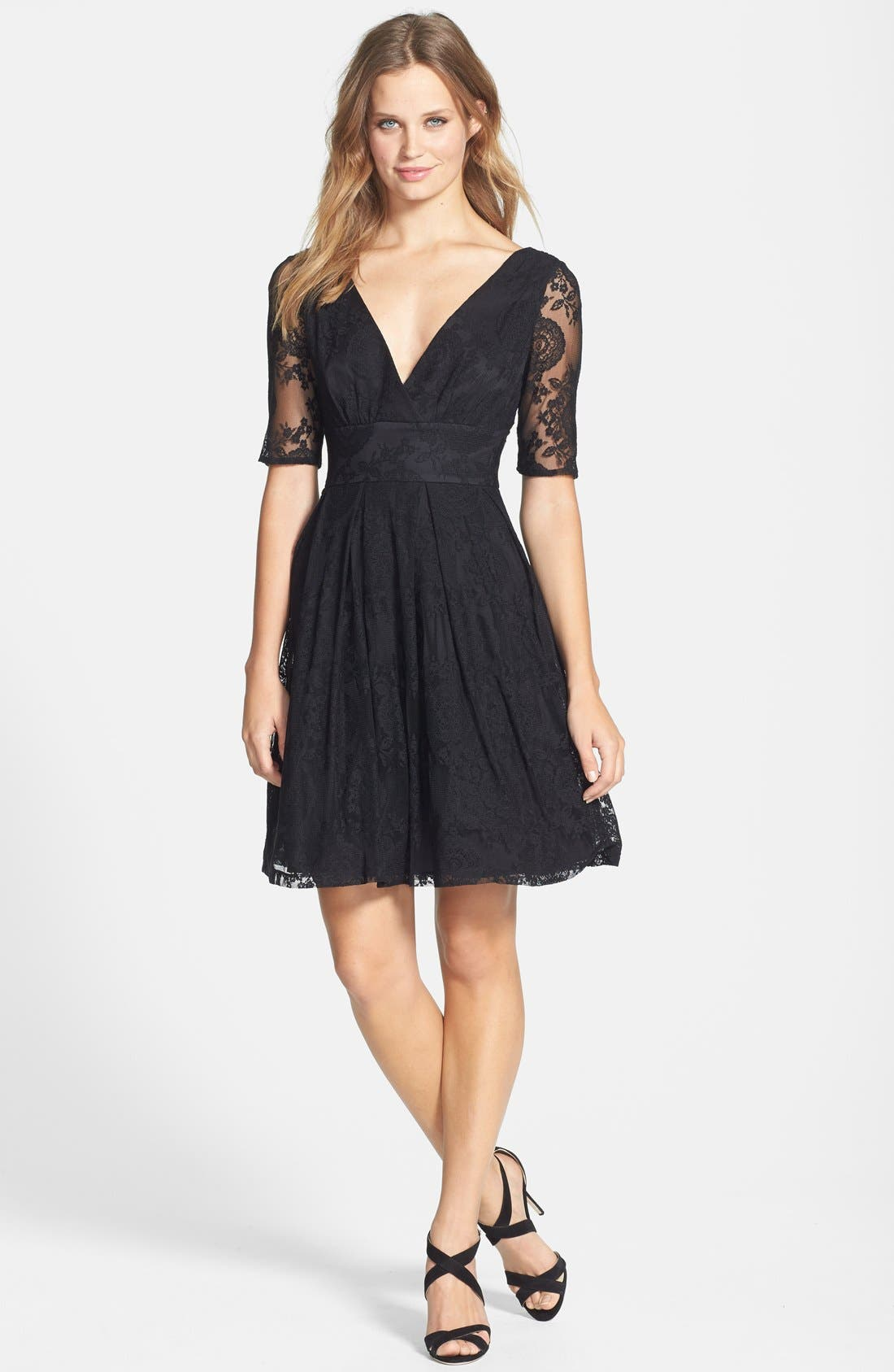 Alternate Image 4  - Betsey Johnson V-Neck Lace Fit & Flare Dress