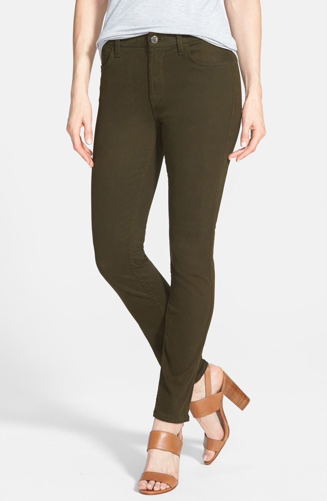 Colored Stretch Denim Skinny Jeans,                             Main thumbnail 1, color,                             Olive