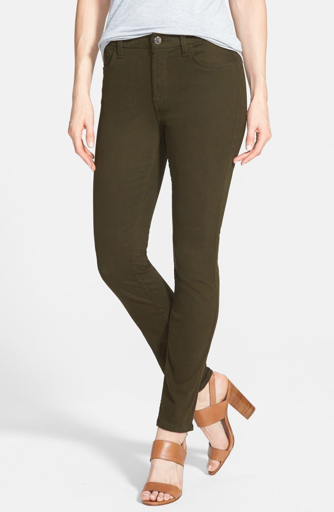 Colored Stretch Denim Skinny Jeans,                         Main,                         color, Olive