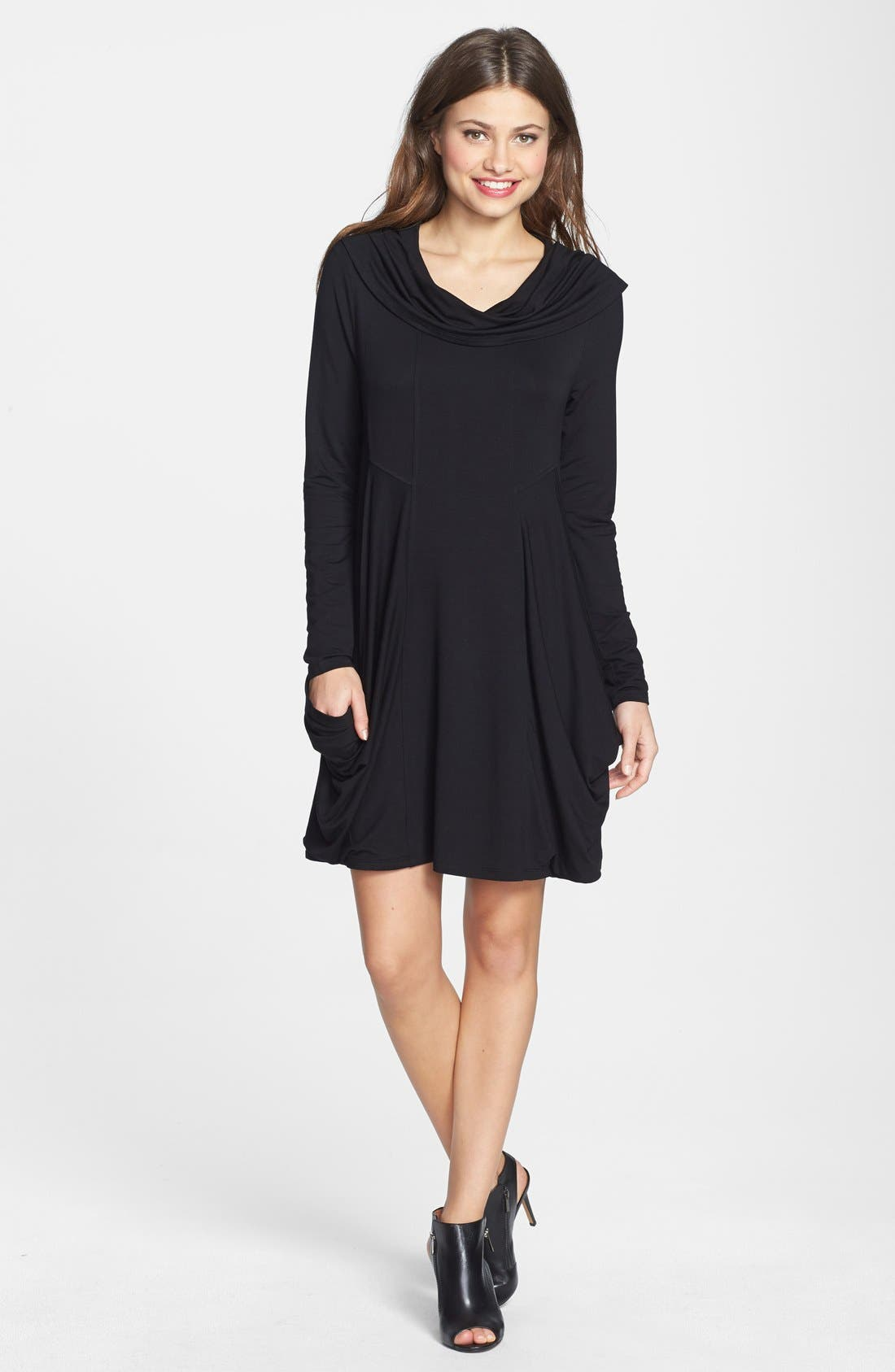 Main Image - kensie Draped Cowl Neck French Terry Dress (Online Only)