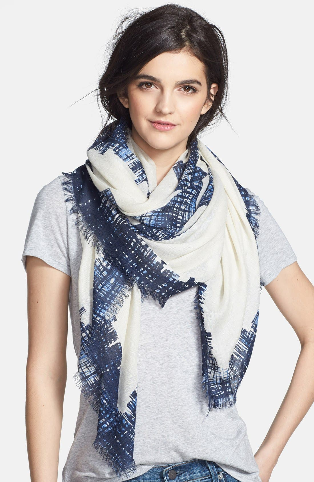 Main Image - Tory Burch 'Painted Hash Print' Square Silk & Wool Scarf