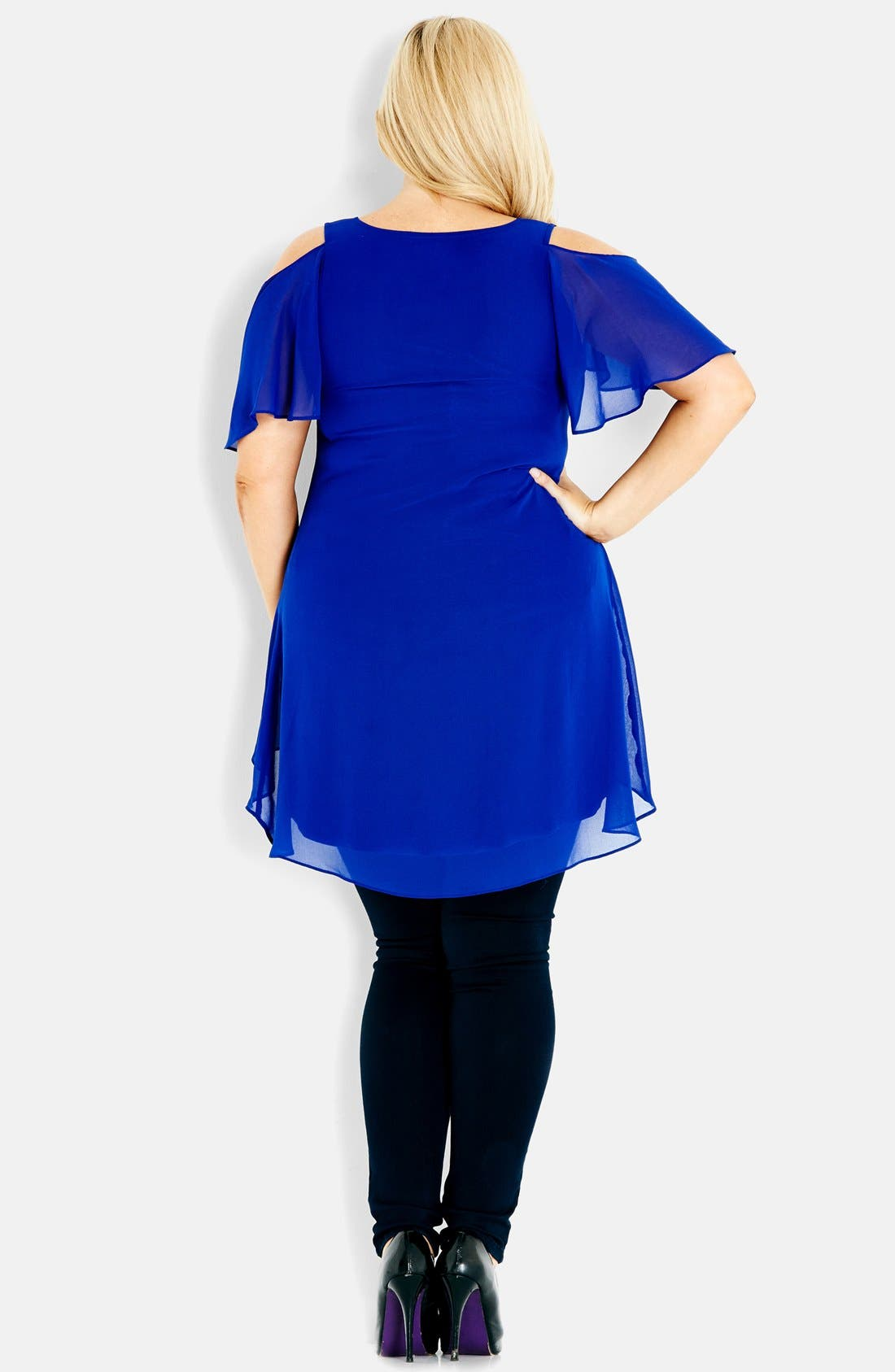 Alternate Image 2  - City Chic Cold Shoulder High/Low Tunic Top (Plus Size)