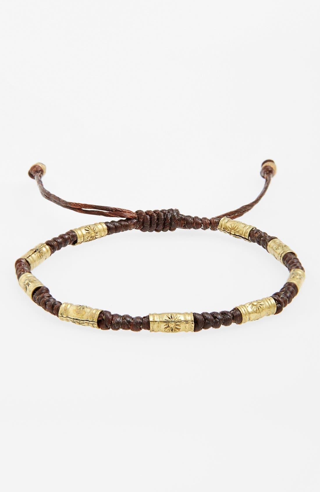 Main Image - Max Reed Skinny Brass Bead Waxed Cord Bracelet