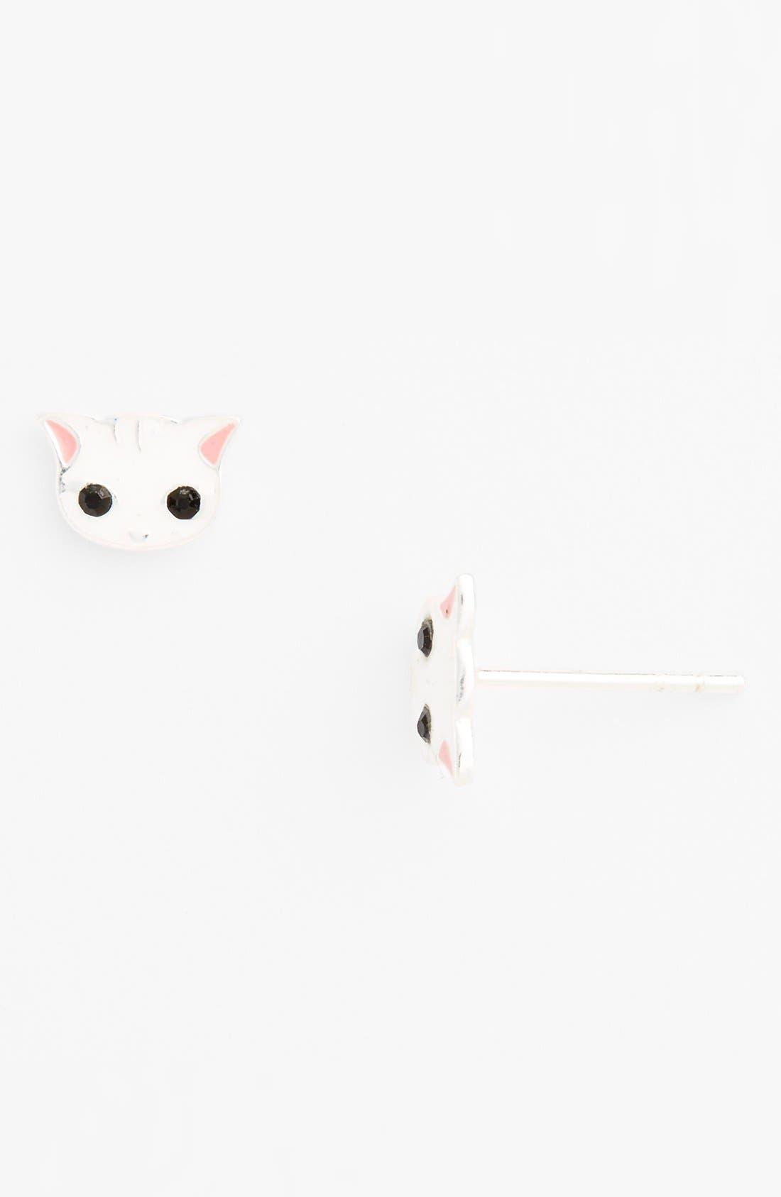 Alternate Image 1 Selected - Tomas 'Kitty Face' Sterling Silver Stud Earrings (Girls)