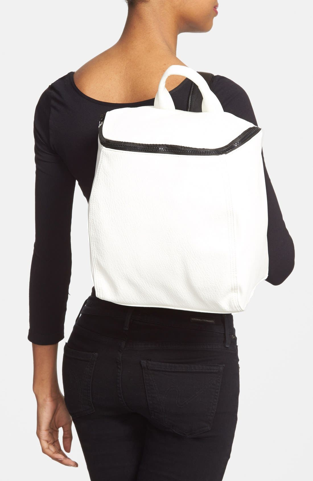 'Prim Lady' Faux Leather Backpack,                             Alternate thumbnail 2, color,                             White