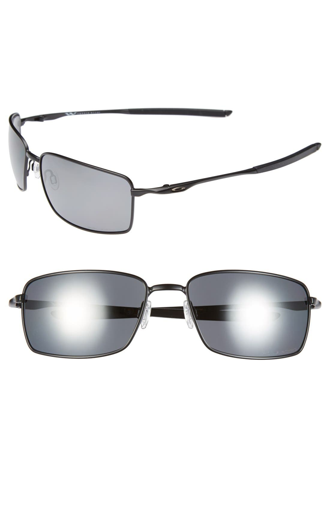 60mm Polarized Sunglasses,                         Main,                         color, Matte Black