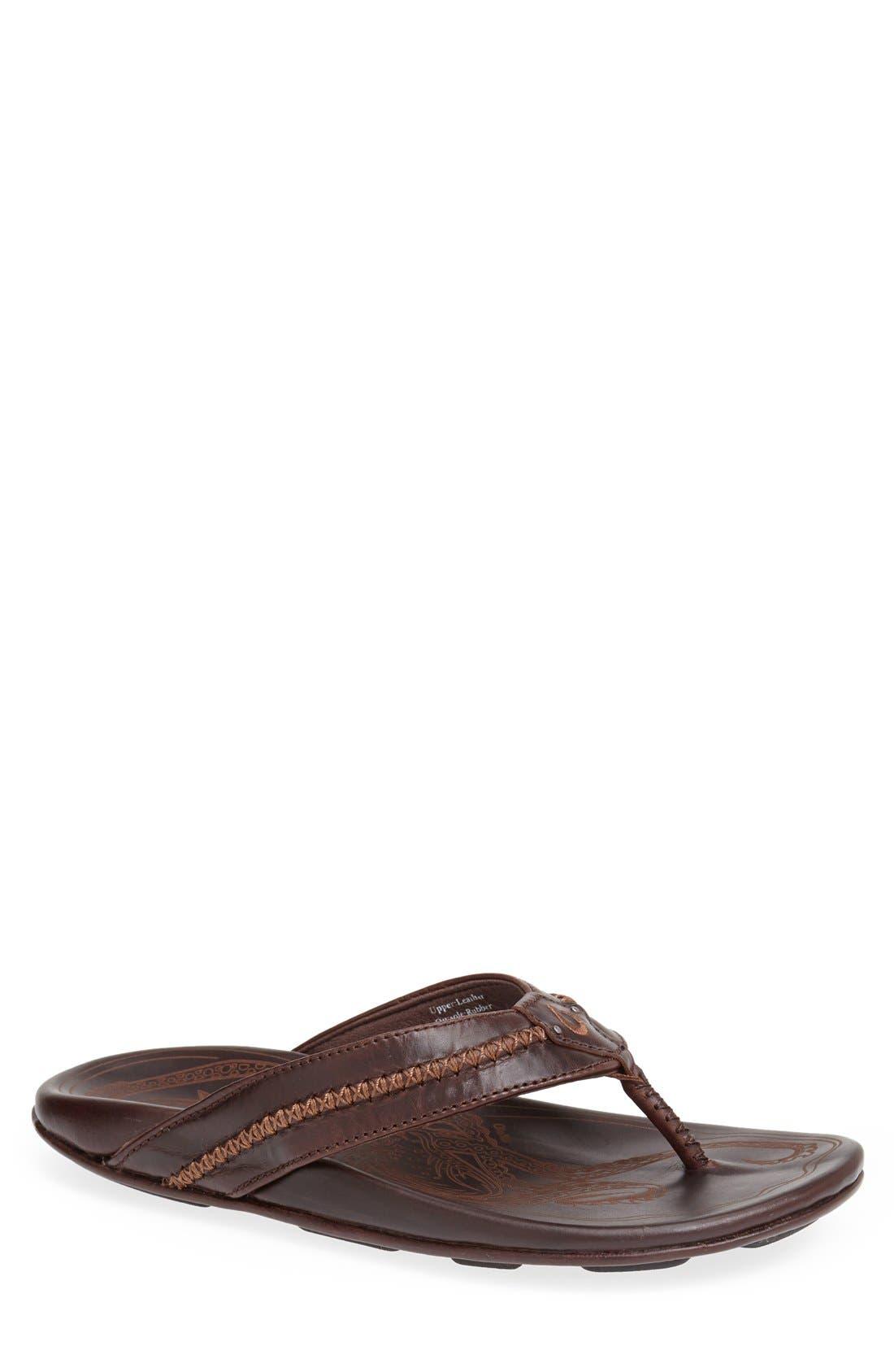 Mea Ola Flip Flop,                         Main,                         color, Dark Java/ Dark Java Leather