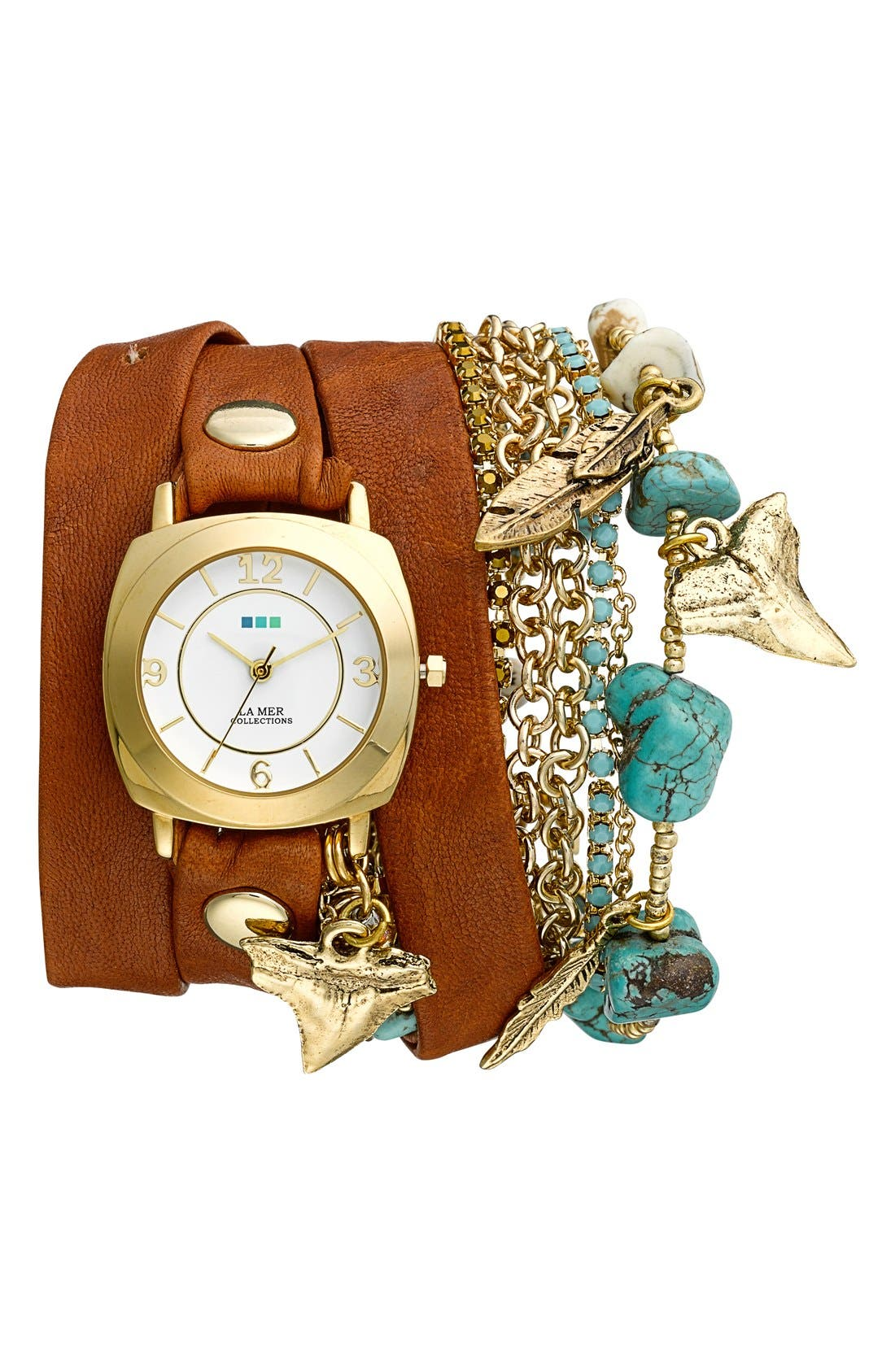 Alternate Image 1 Selected - La Mer Collections Leather & Chain Wrap Bracelet Watch, 35mm x 33mm