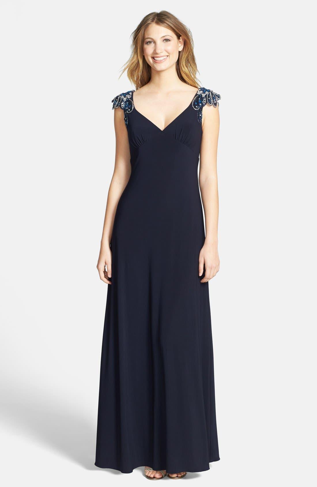 Main Image - Xscape Embellished Shoulder Gown