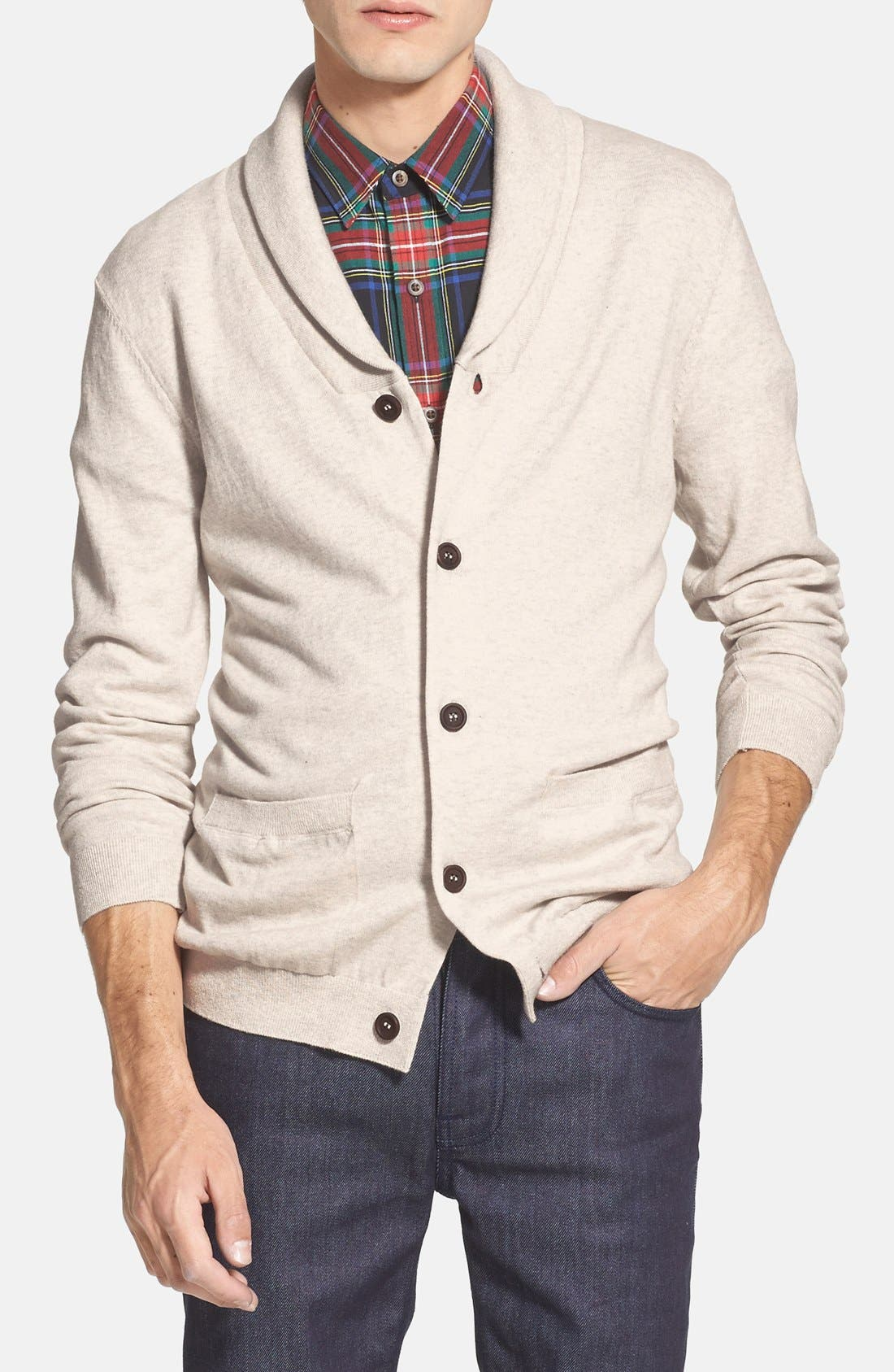 Alternate Image 1 Selected - Topman Jersey Shawl Collar Cardigan