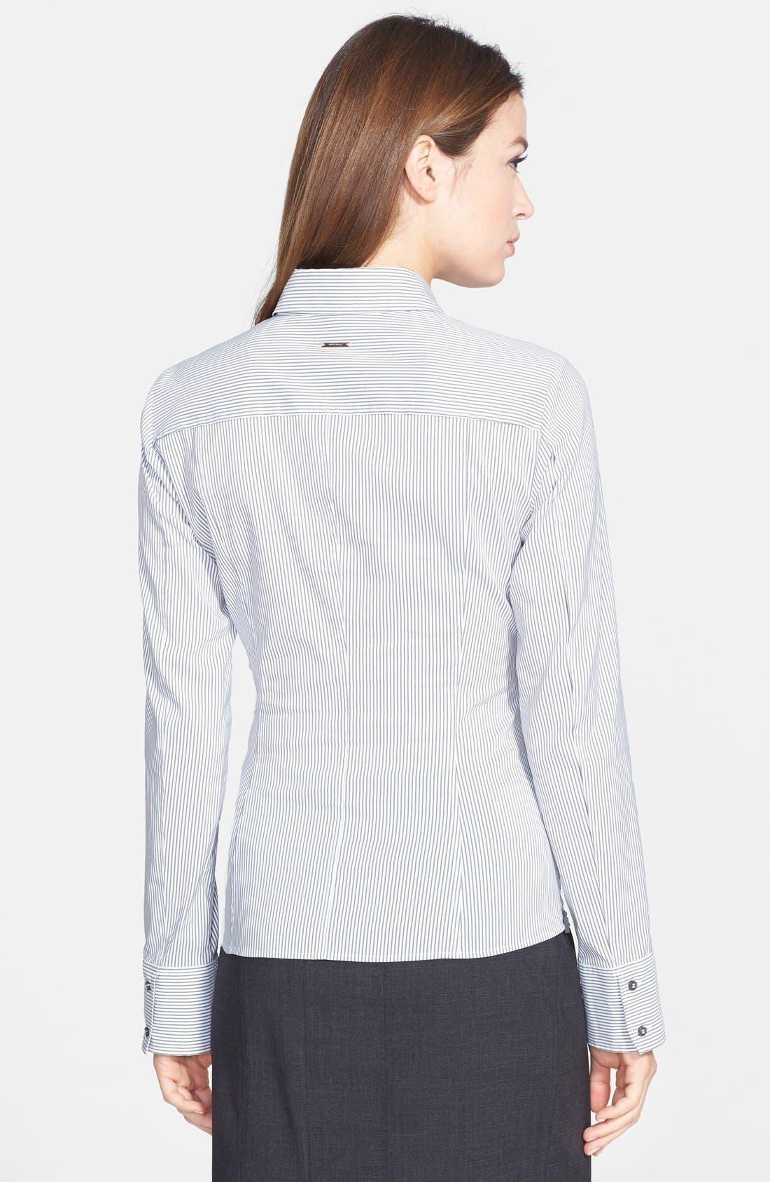 Alternate Image 2  - BOSS 'Bashina' Fitted Cotton Blend Pinstripe V-Neck Blouse