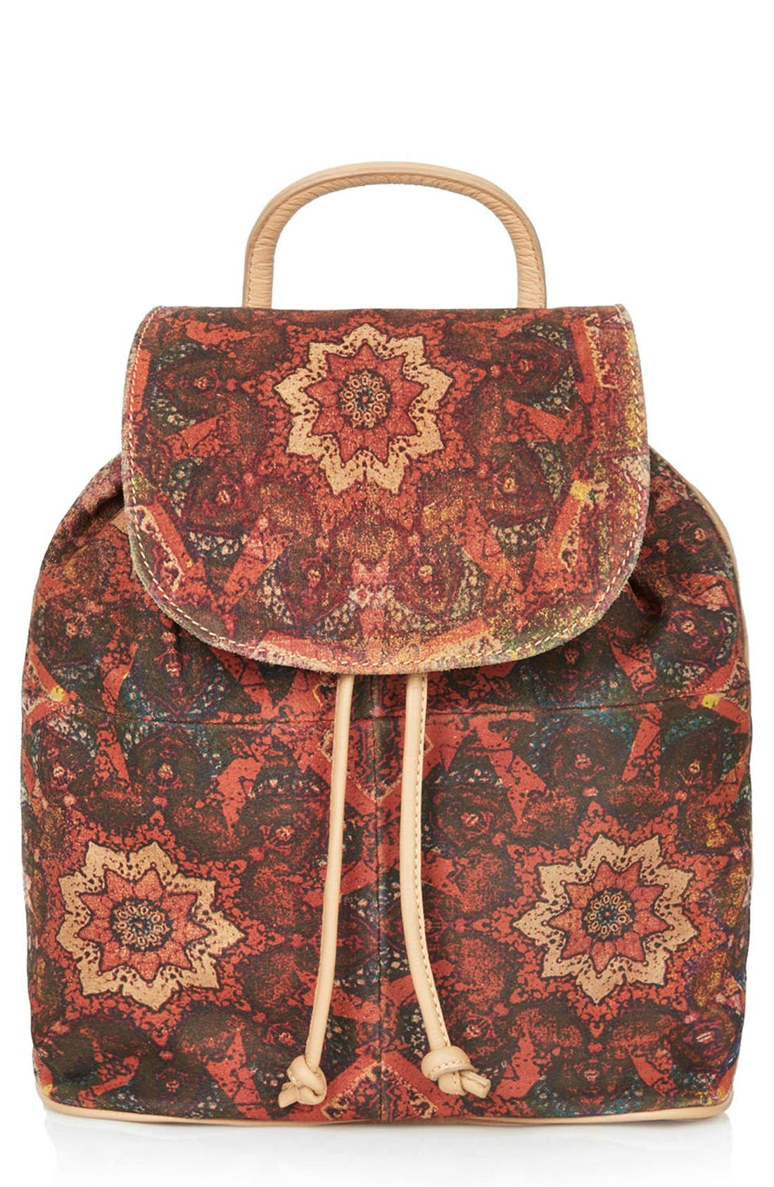 Alternate Image 1 Selected - Topshop Print Suede Backpack