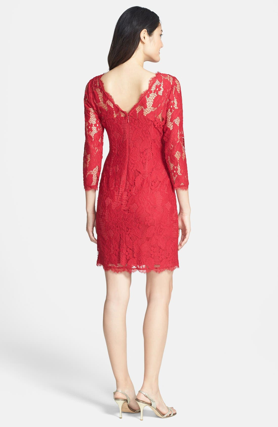 Alternate Image 2  - Adrianna Papell Long Sleeve Lace Cocktail Dress