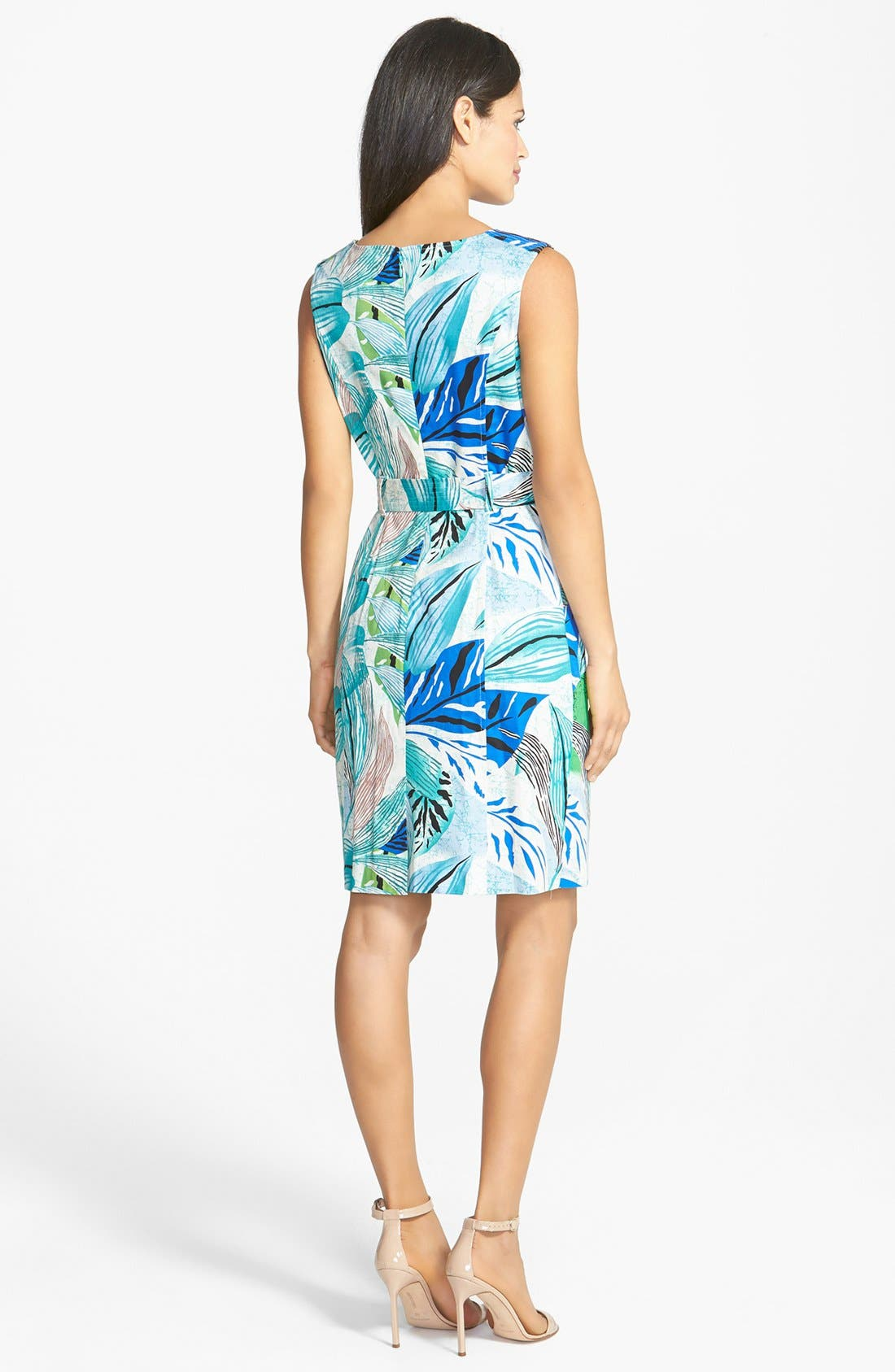 Alternate Image 2  - Ellen Tracy Bamboo Detail Belted Sheath Dress