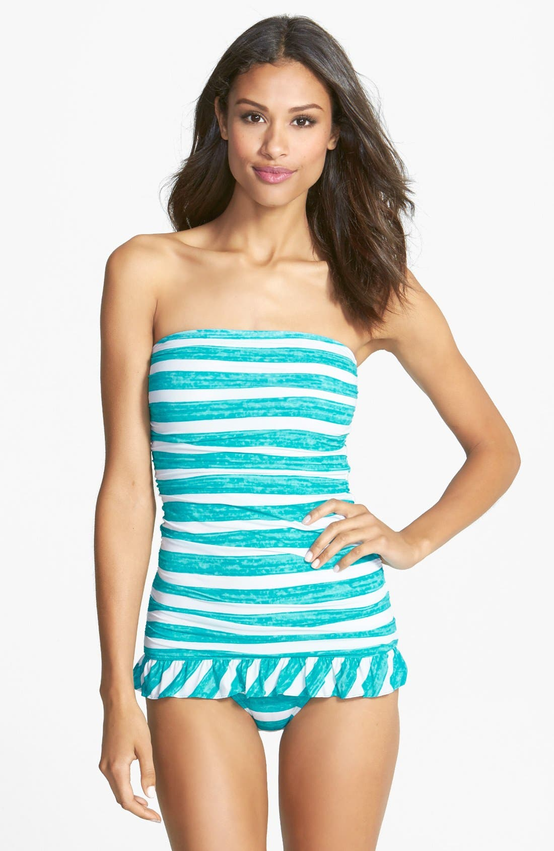 Alternate Image 1 Selected - Coco Rave 'Lucky Girls Wear Stripes' Ruffle Swimdress