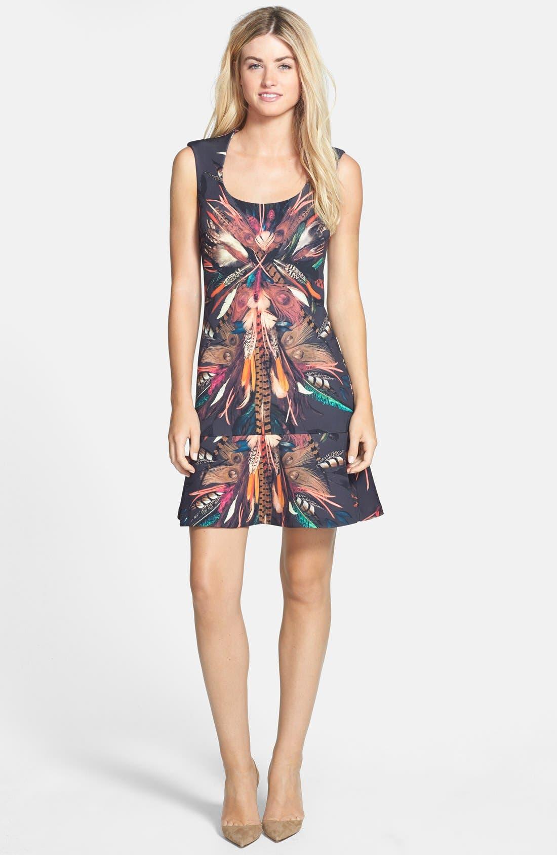 Alternate Image 3  - Nicole Miller 'Tail Feather' Print Neoprene Fit & Flare Dress