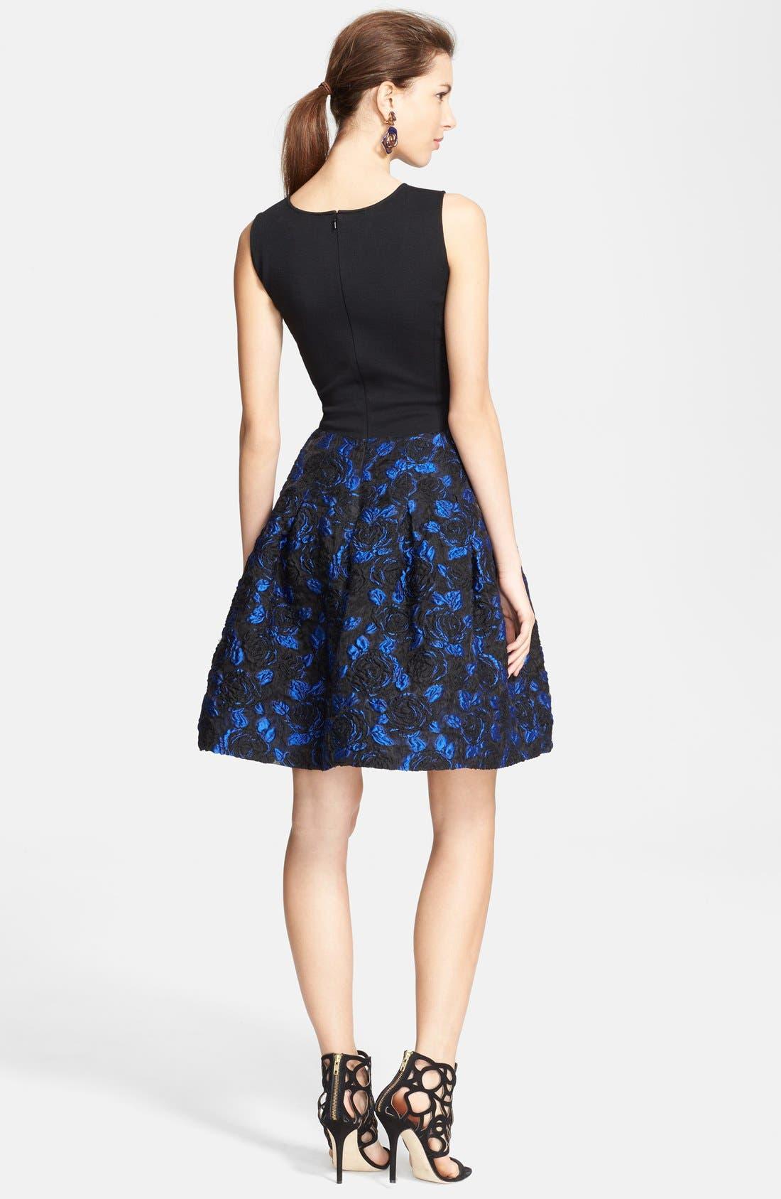 Alternate Image 2  - Oscar de la Renta Jacquard Skirt Fit & Flare Dress