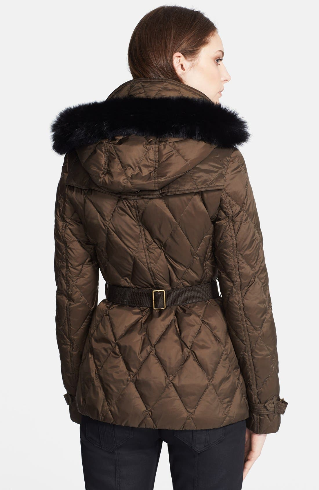 Alternate Image 2  - Burberry Brit 'Natesdale' Hooded Quilted Jacket with Genuine Fox Fur Trim