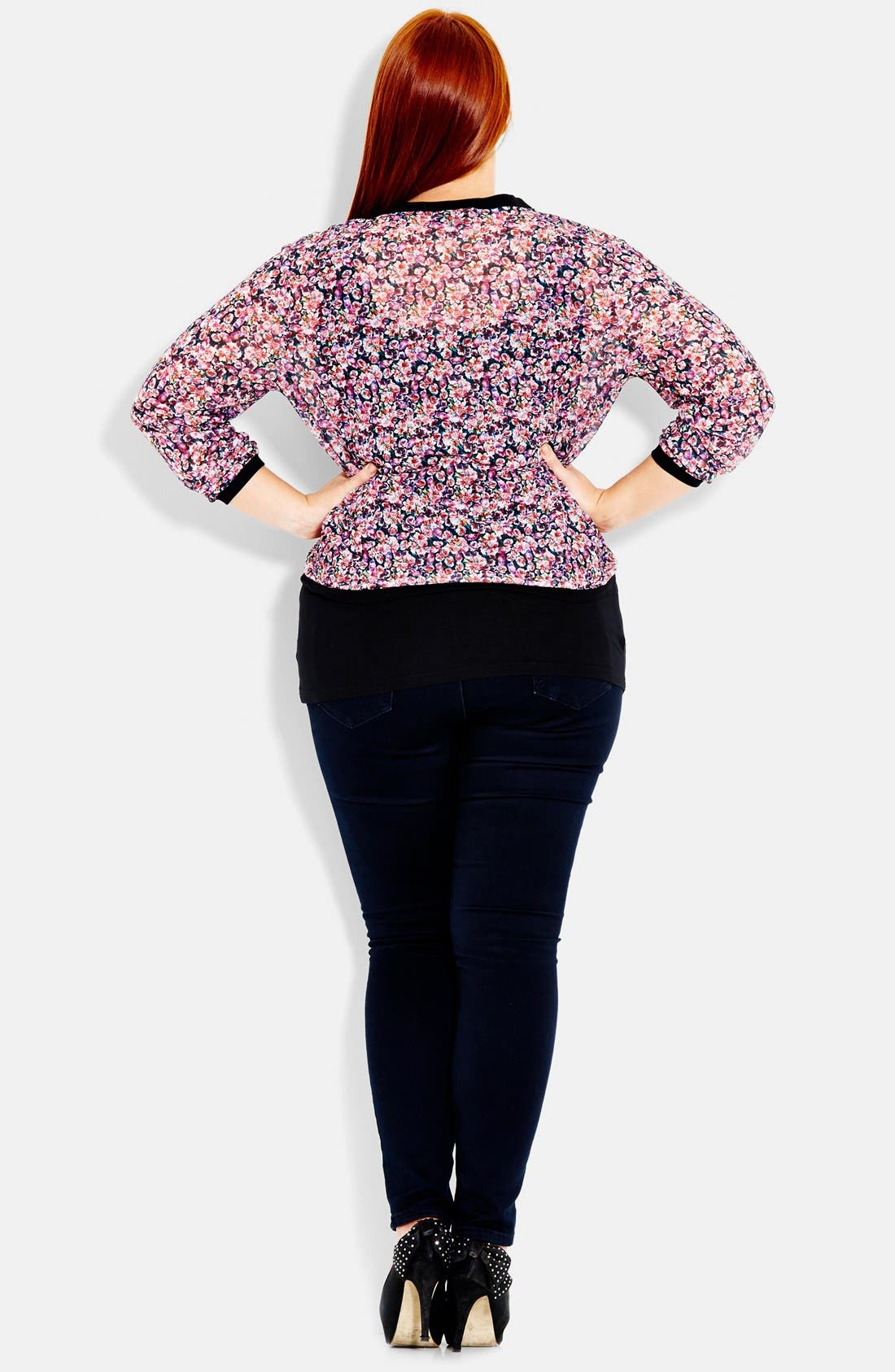 Alternate Image 2  - City Chic 'Soft Biker' Floral Print Bomber Jacket (Plus Size)