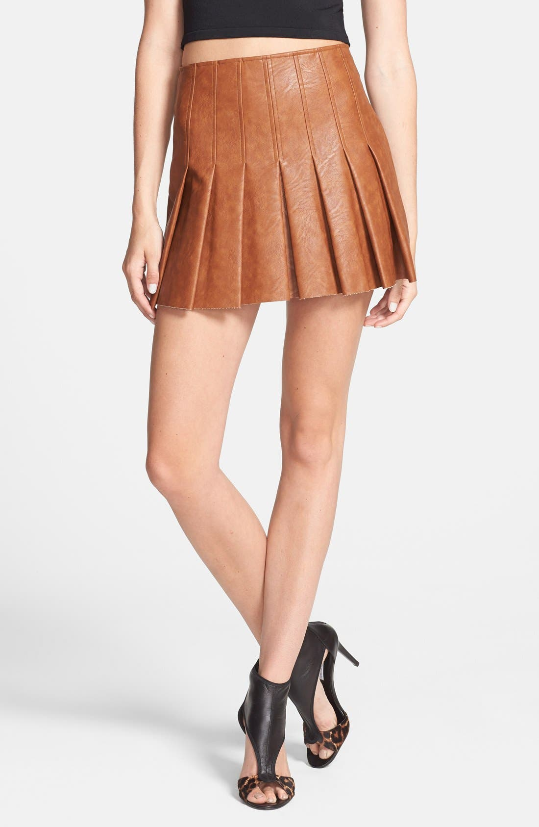 Main Image - ASTR Faux Leather Pleat Front Skirt