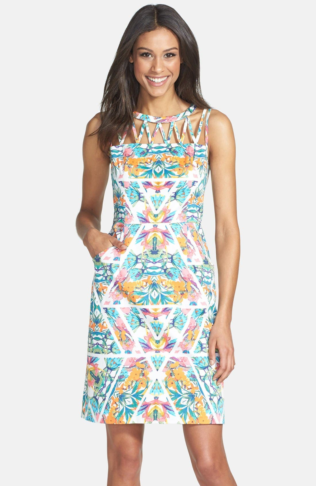 Main Image - Adrianna Papell Caged Yoke Floral Print Sheath Dress