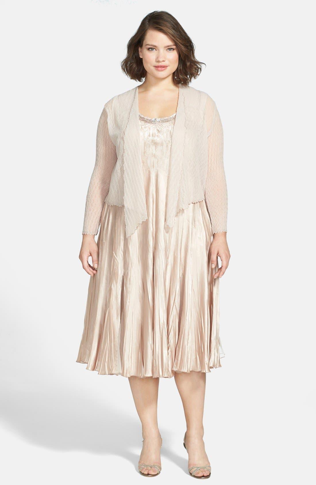 KOMAROV Charmeuse Dress & Chiffon Jacket