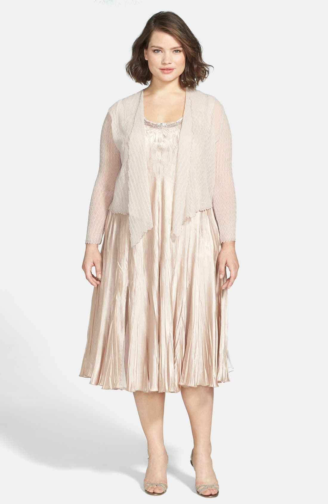 Komarov Charmeuse Dress & Chiffon Jacket (Plus Size)