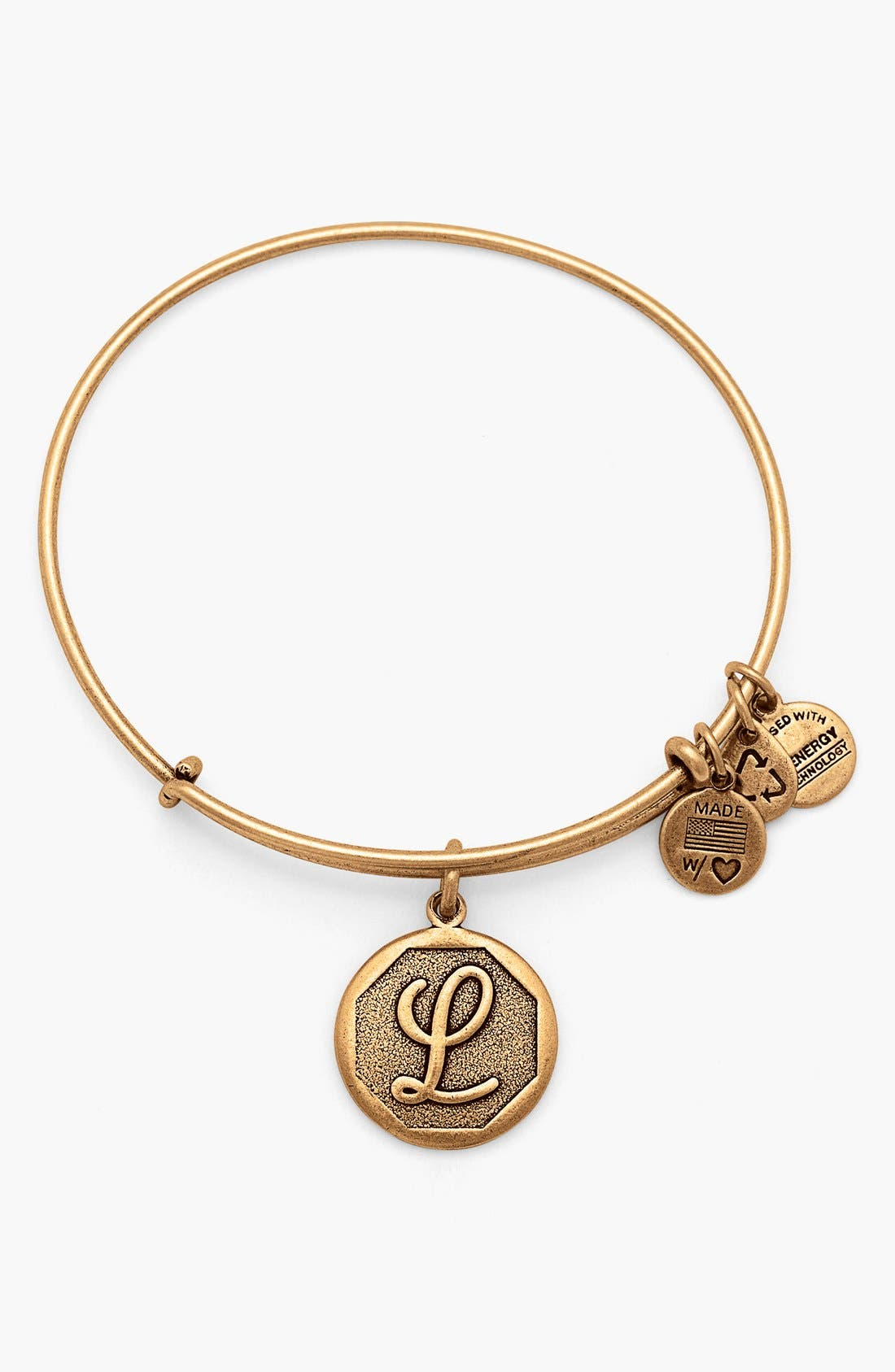 'Initial' Adjustable Wire Bangle,                         Main,                         color, L - Rafaelian Gold