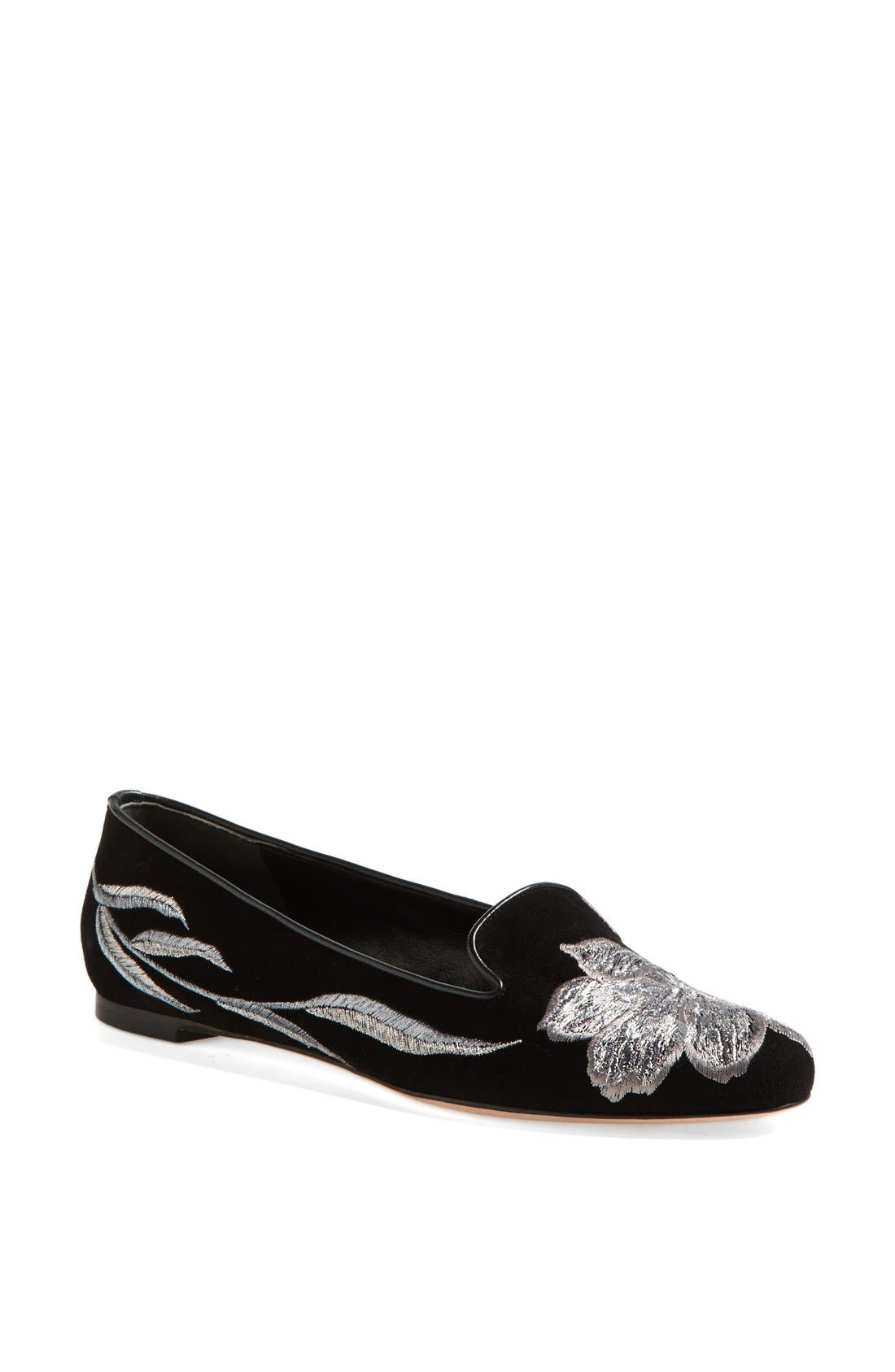 Main Image - Alexander McQueen Tulip Embroidered Suede Smoking Flat (Women)