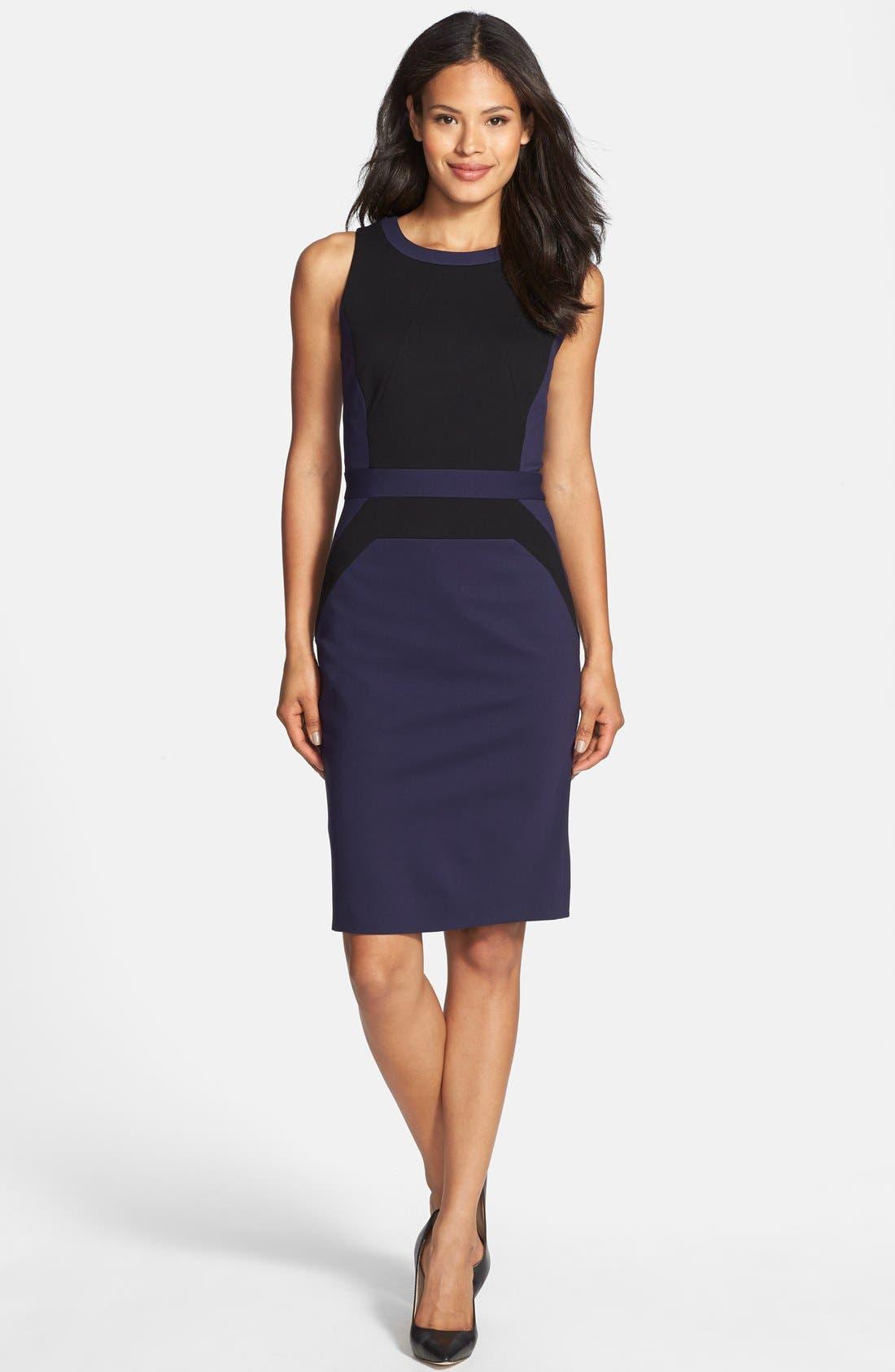Main Image - Classiques Entier® Italian Ponte Colorblock Dress