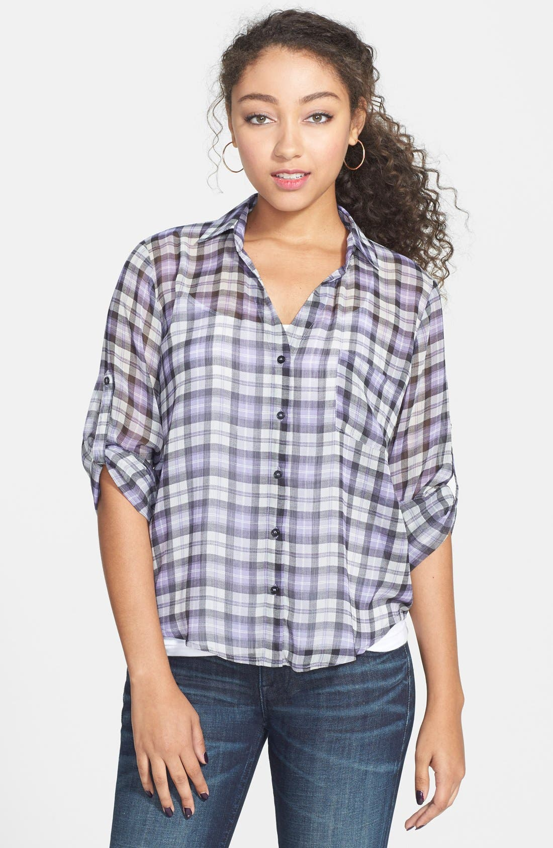 Plaid Shirt,                         Main,                         color, Ivory/ Purple