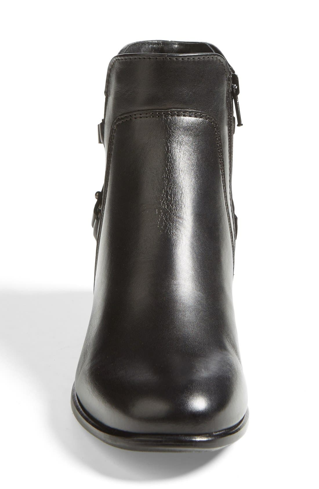 'Sharon' Waterproof Bootie,                             Alternate thumbnail 3, color,                             Black Leather