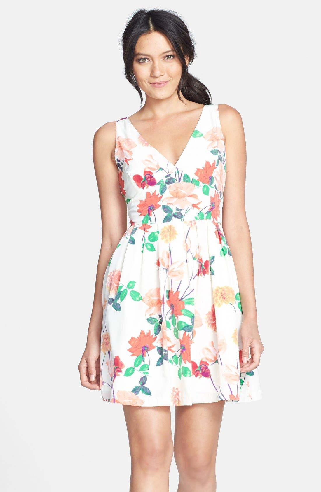 Main Image - BB Dakota 'Basha' Floral Print Fit & Flare Dress